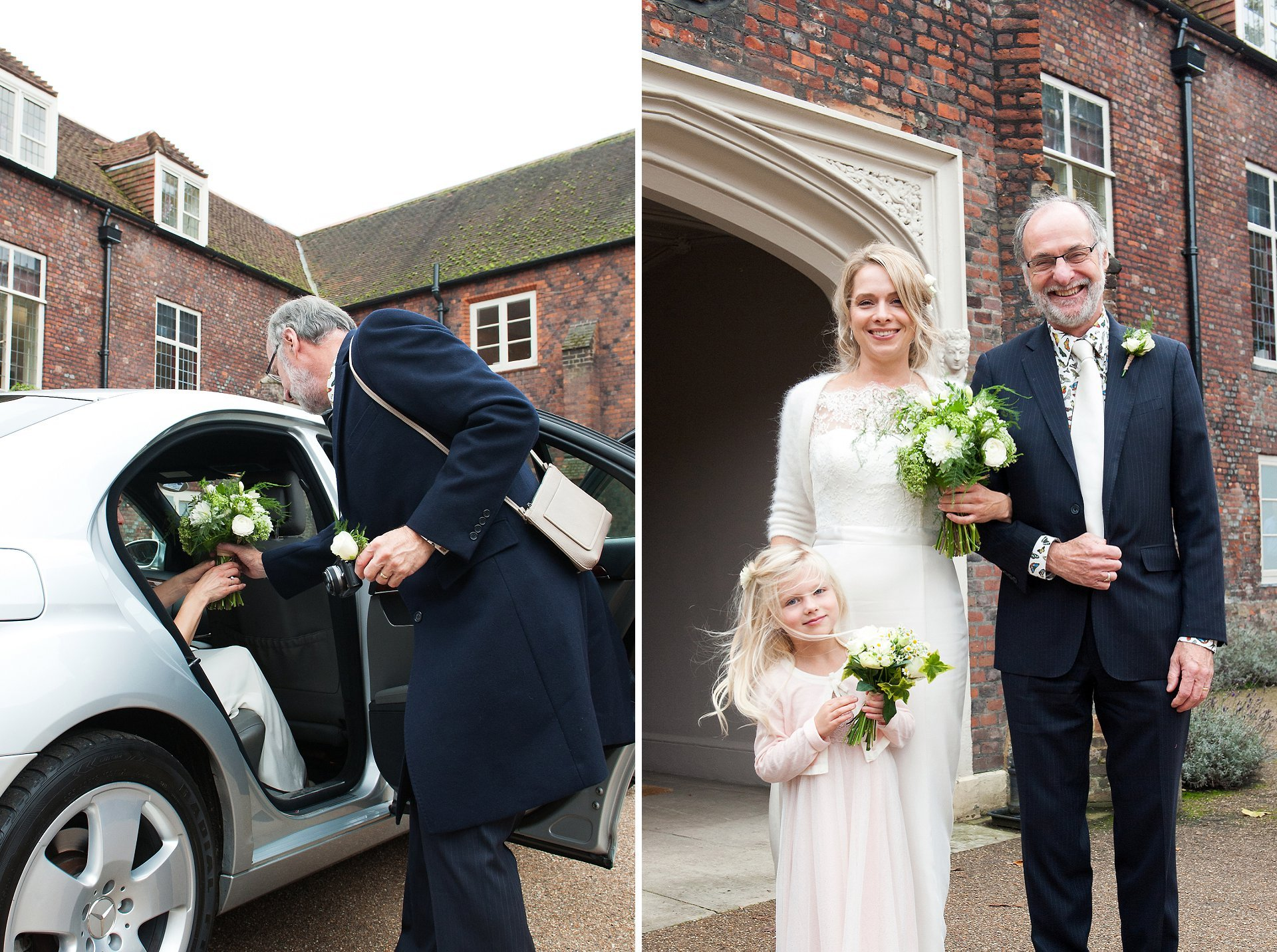 Bride, her father and bridesmaid arrive at Fulham Palace for an Autumn wedding