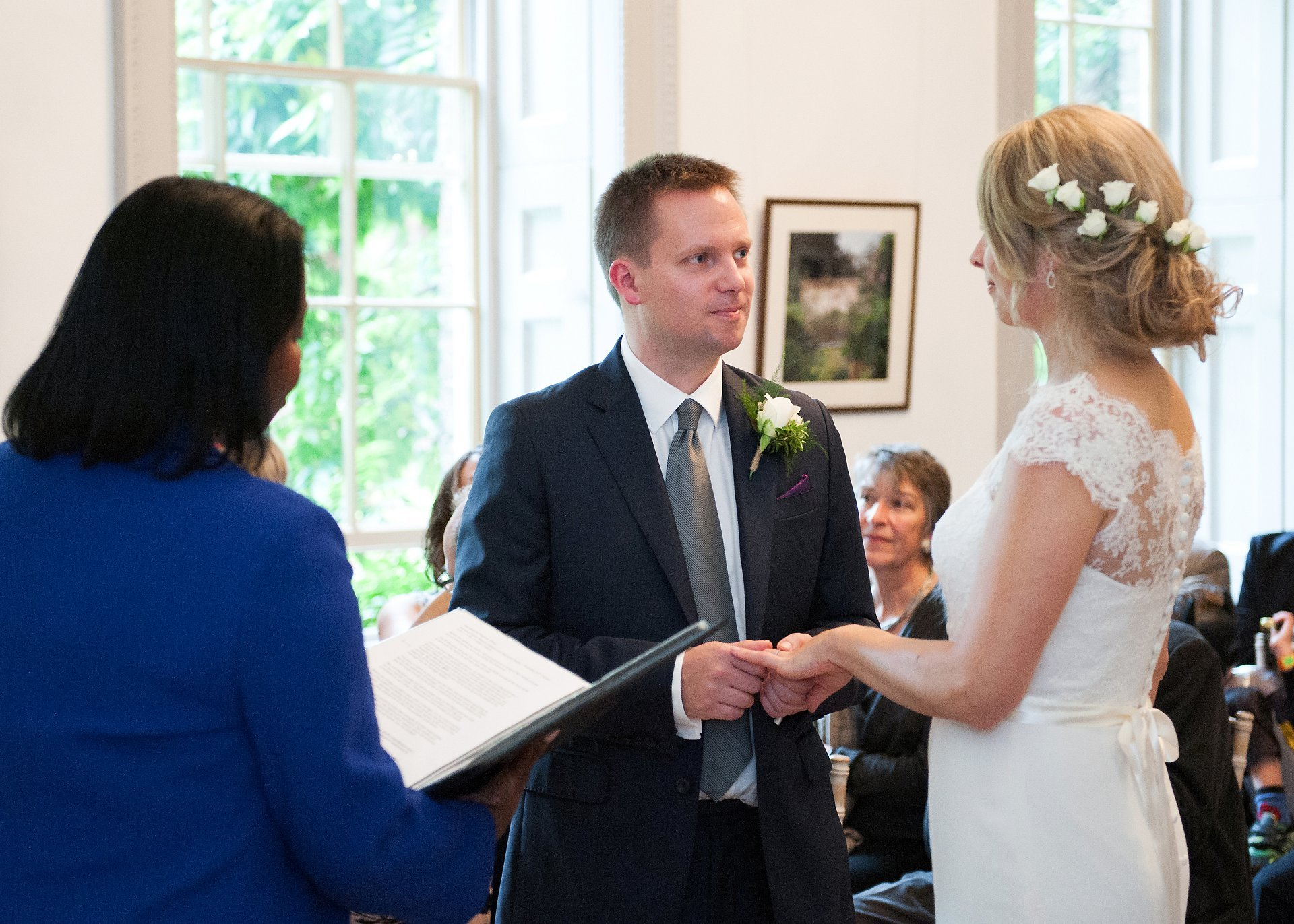 Vows and ring exchange in the Bishop Terrick's Drawing Room at Fulham Palace