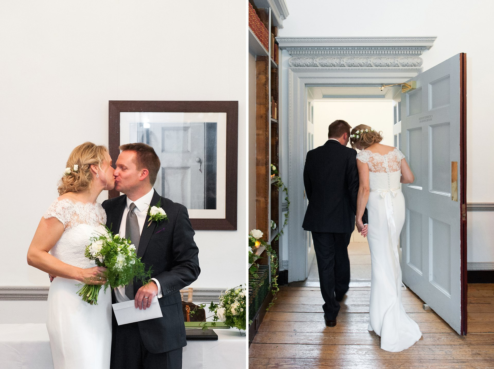 The bride and groom kiss before leaving the Bishop Terrick's Drawing Room at Fulham Palace