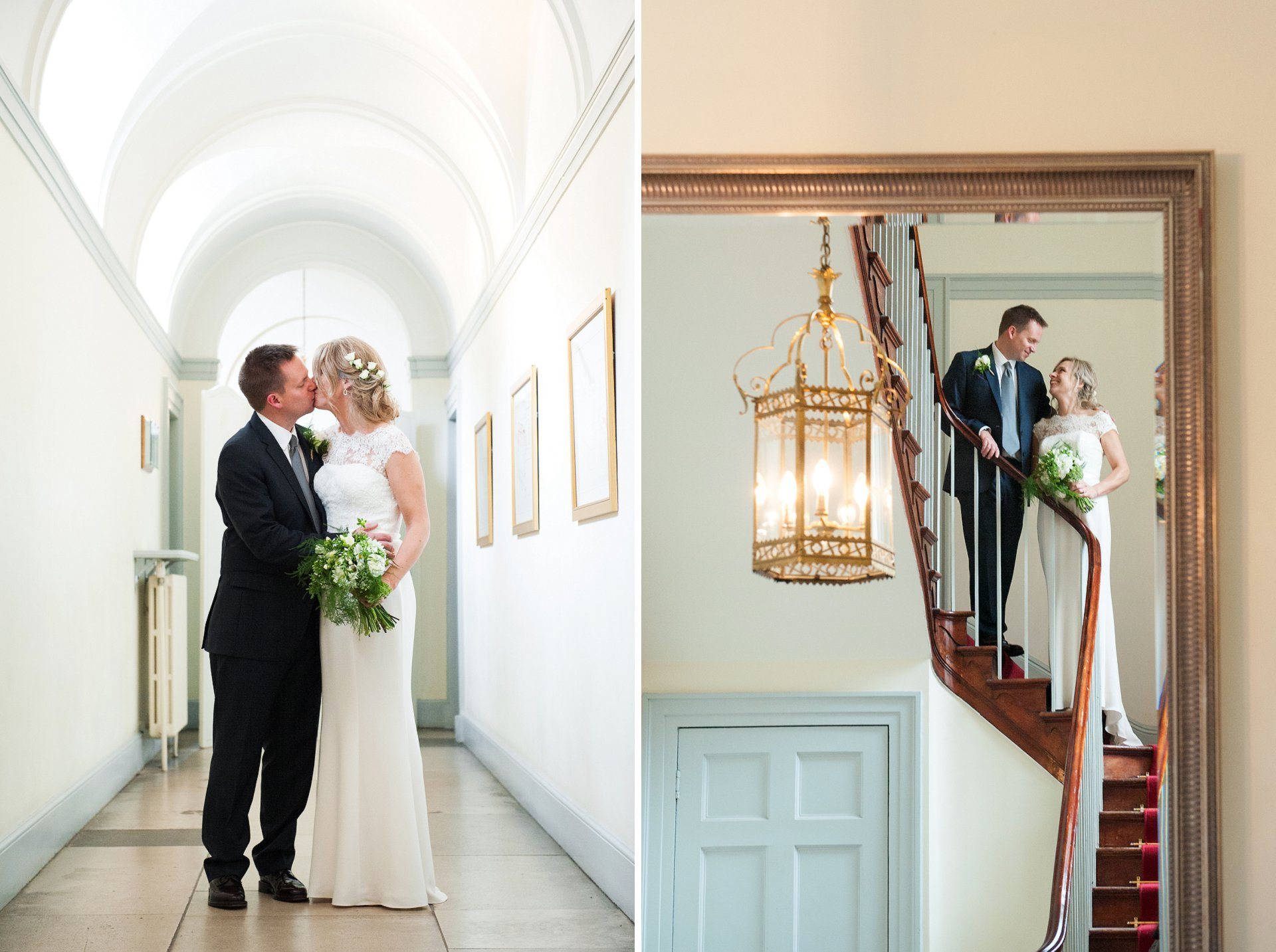 Bride and groom in the cooridor outside Bishop Terrick's Drawing Room and on the red staircase at Fulham Palace to celebrate their wedding