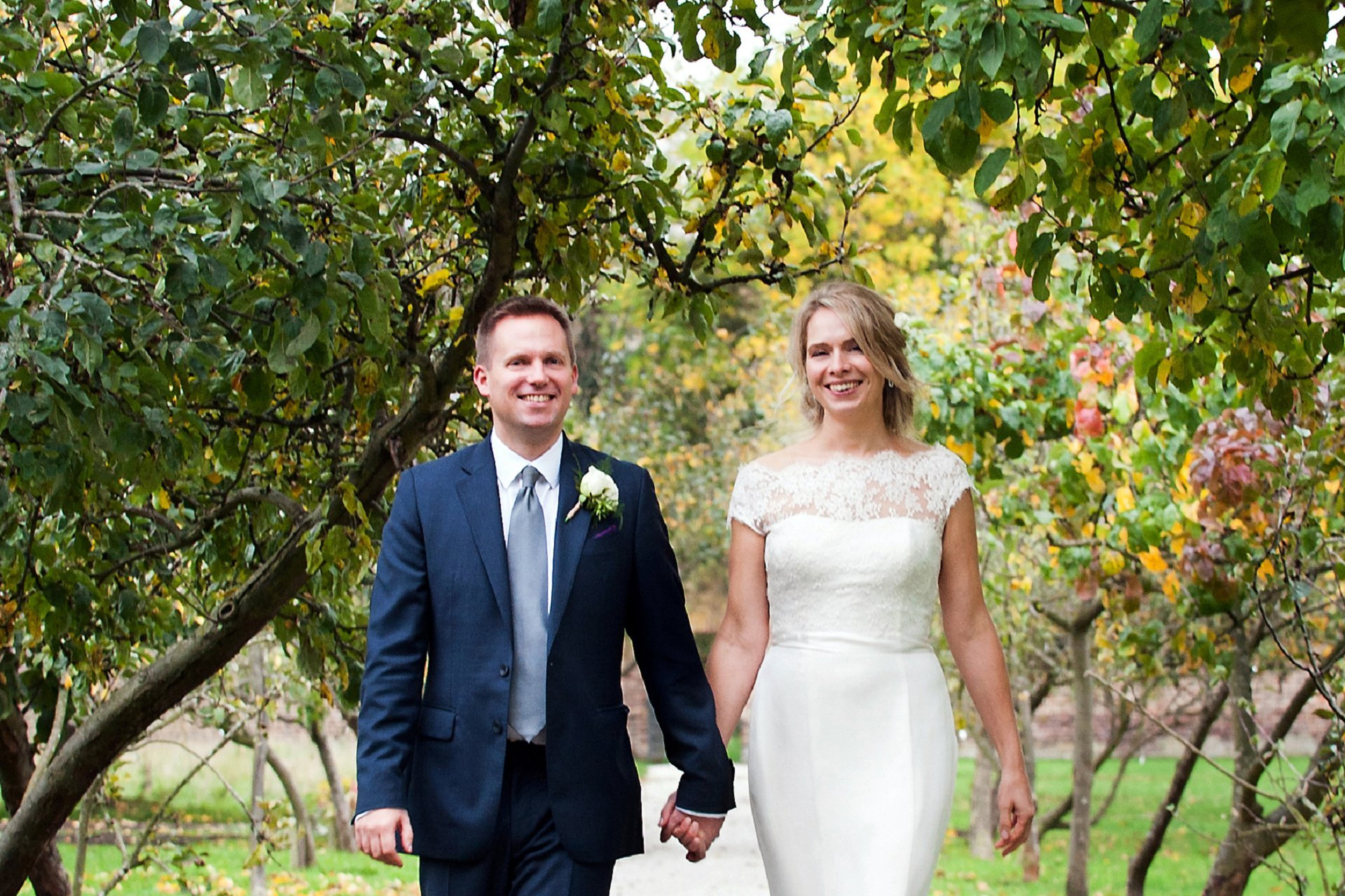 Fulham Palace Wedding Photography - the ancient orchard in Fulham Palace's walled garden makes a great backdrop for wedding photographs, especially with teh Autumn colours