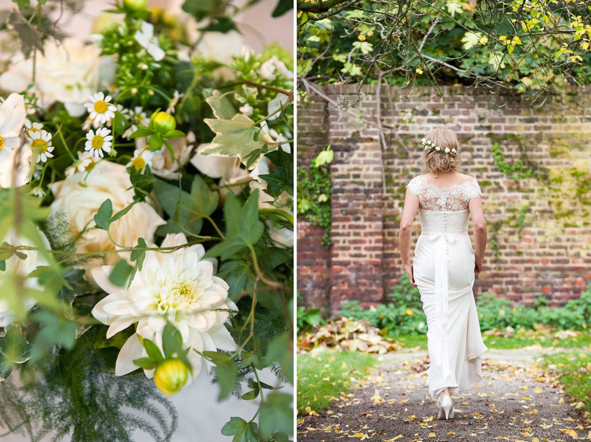 Bride walks through orchard at Fulham Palace so that you can see the buttons and bow detial in her full length wedding dress
