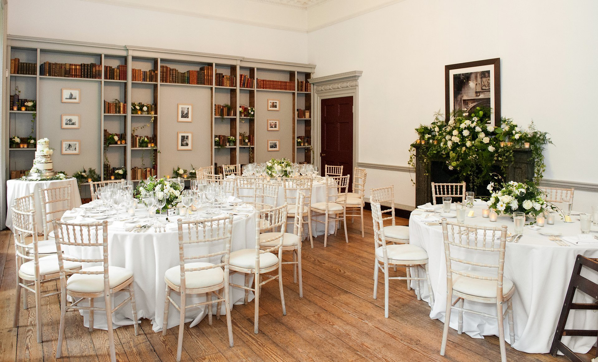 The Bishop Terrick's Drawing Room laid for a wedding breakfast for 30 guests at Fulham Palace