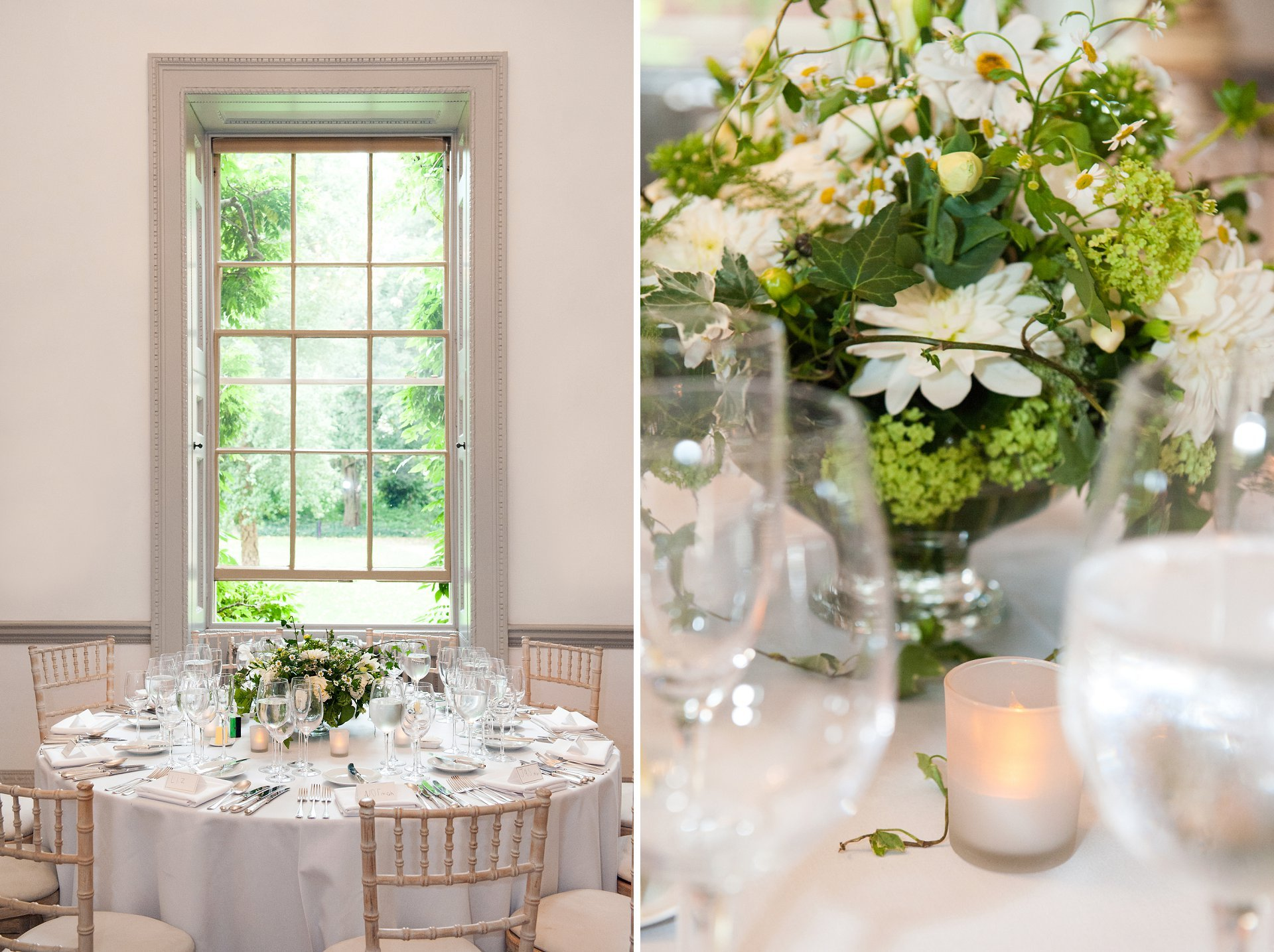 The tall shuttered windows in the Bishop Terrick's Drawing Room at Fulham Palace look so pretty as a backdrop to a wedding breakfast