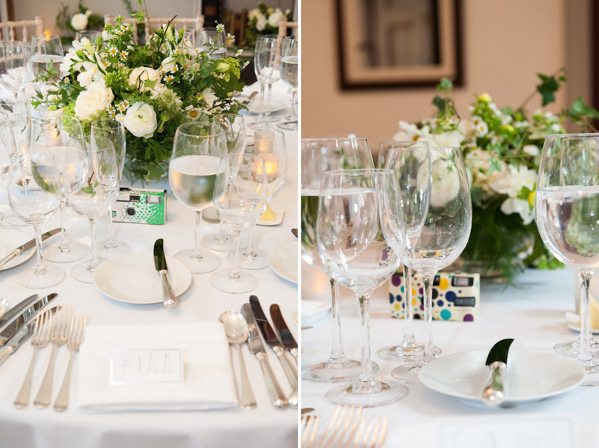 Table setting for a Fulham Palace wedding breakfast