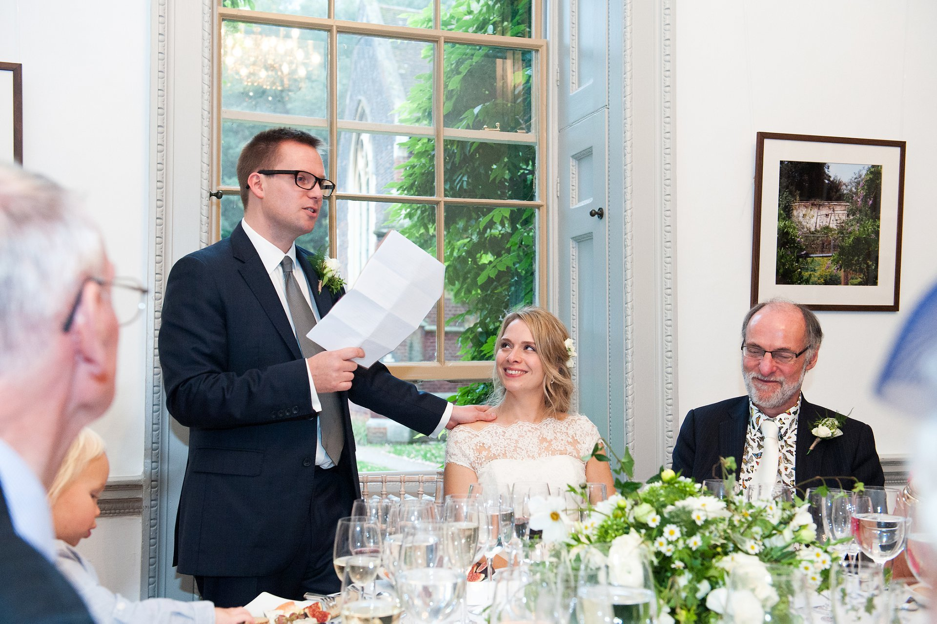 The groom during his wedding speech in Bishop Terrick's Drawing Room