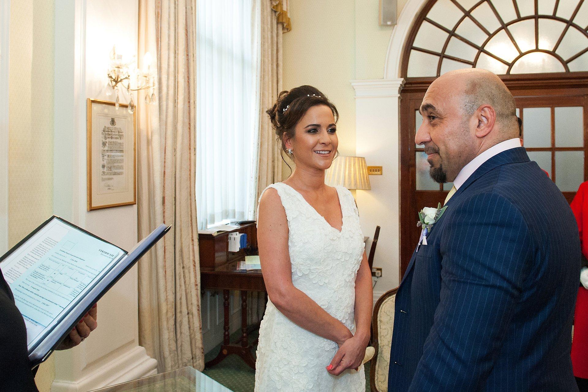 Bride Groom Enchanging Vows During Kensington Chelsea Register Office Civil Wedding