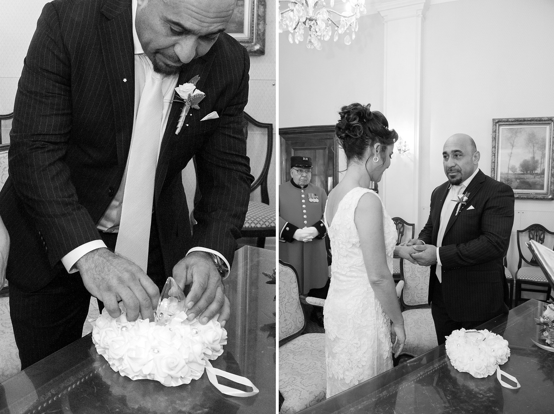 Exchange of rings during civil wedding ceremony at Chelsea Town Hall