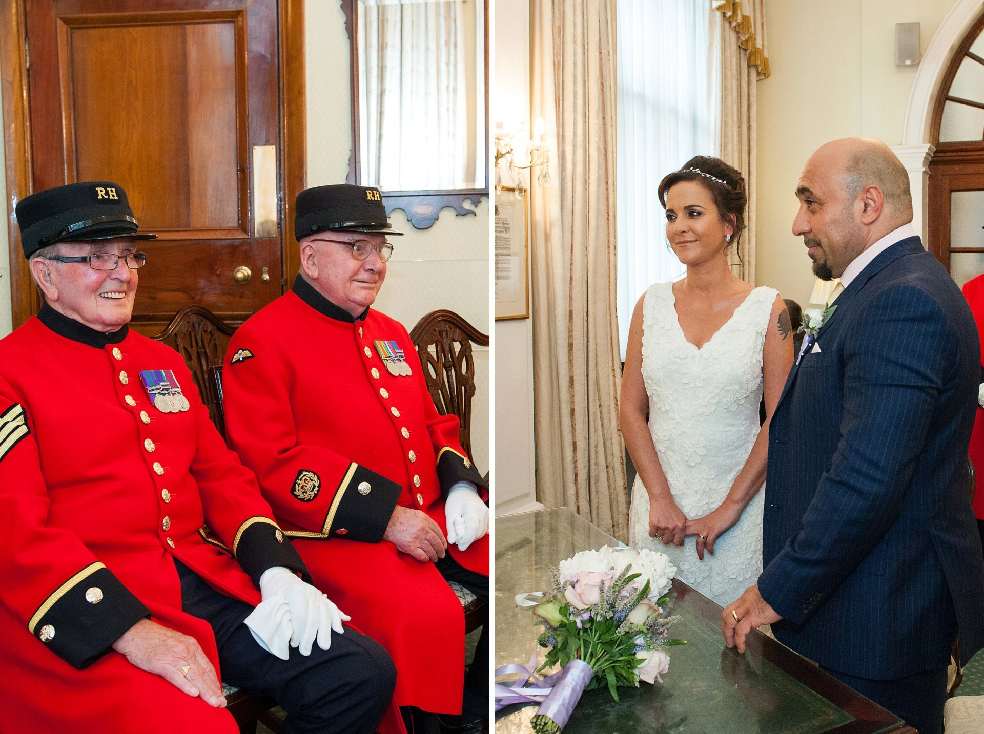 Chelsea Pensioners and bride & groom inside the Rossetti Room at Chelsea Register Office on King's Road