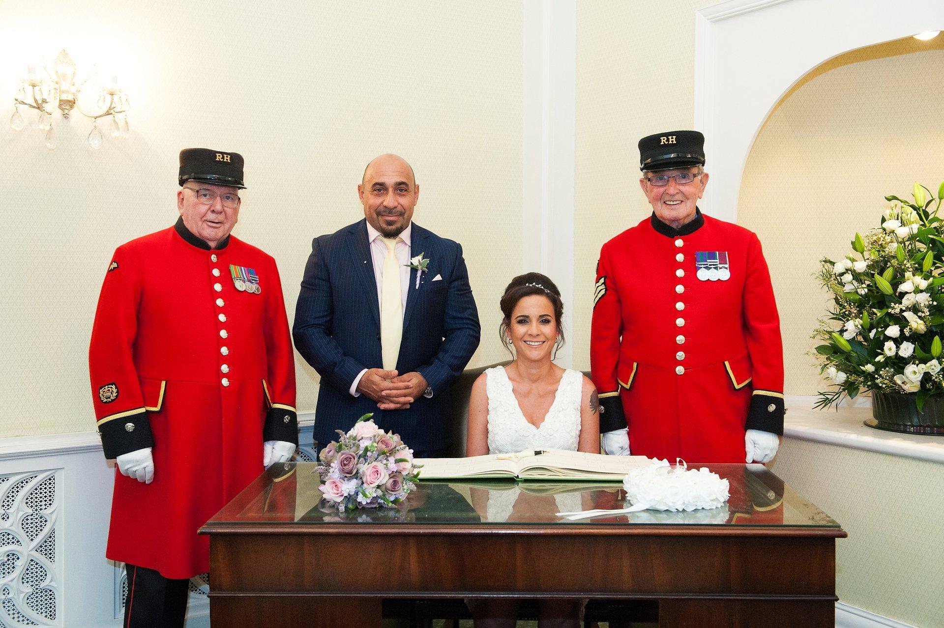 Bride & groom and Chelsea Pensioner witnessess at Kensington & Chelsea Register Office civil ceremony