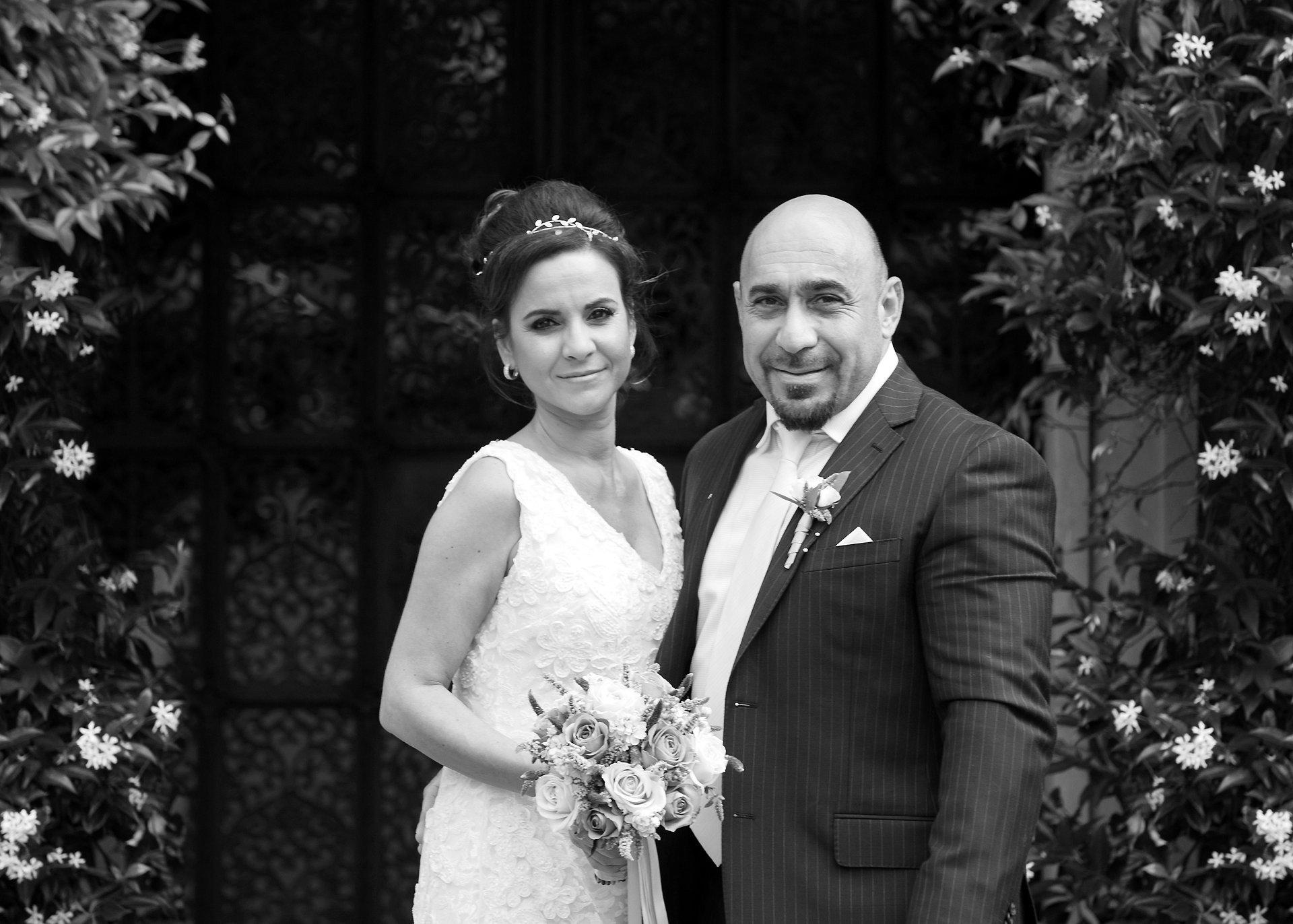 Bride & groom after their wedding in London's Chelsea