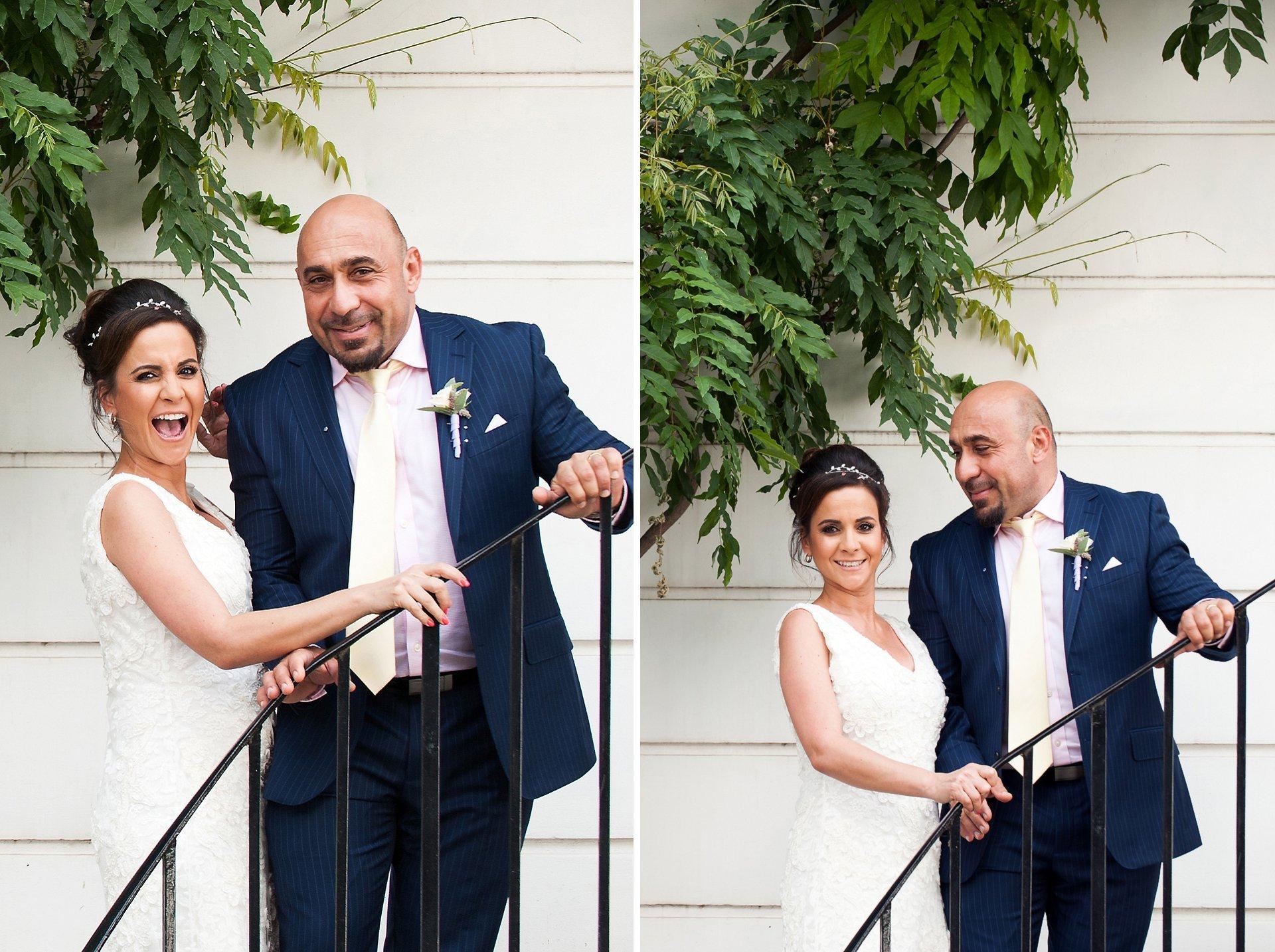 Bride & groom laughing after their Chelsea wedding