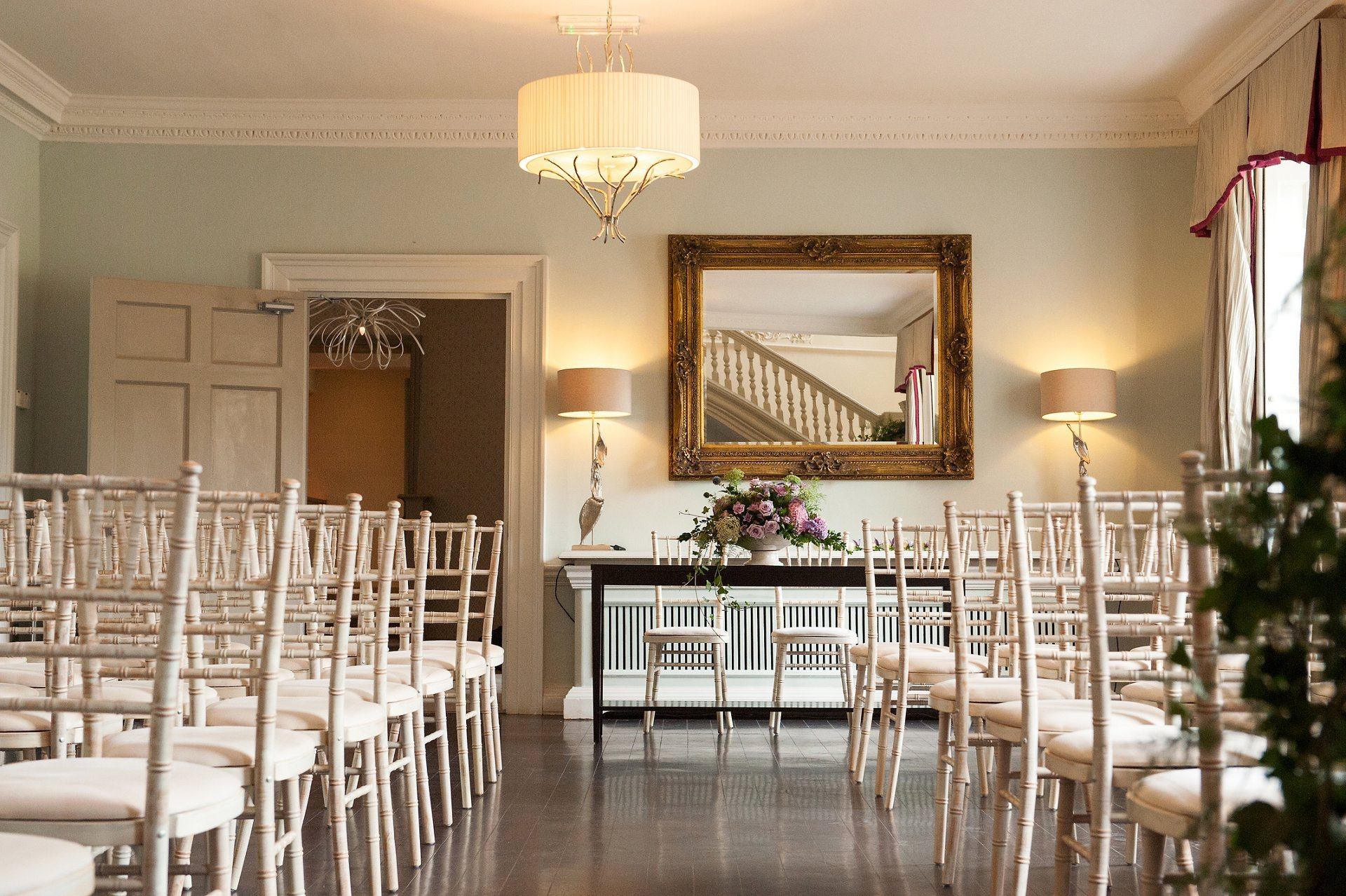 Willow Room at Morden Hall set up for a civil wedding ceremony
