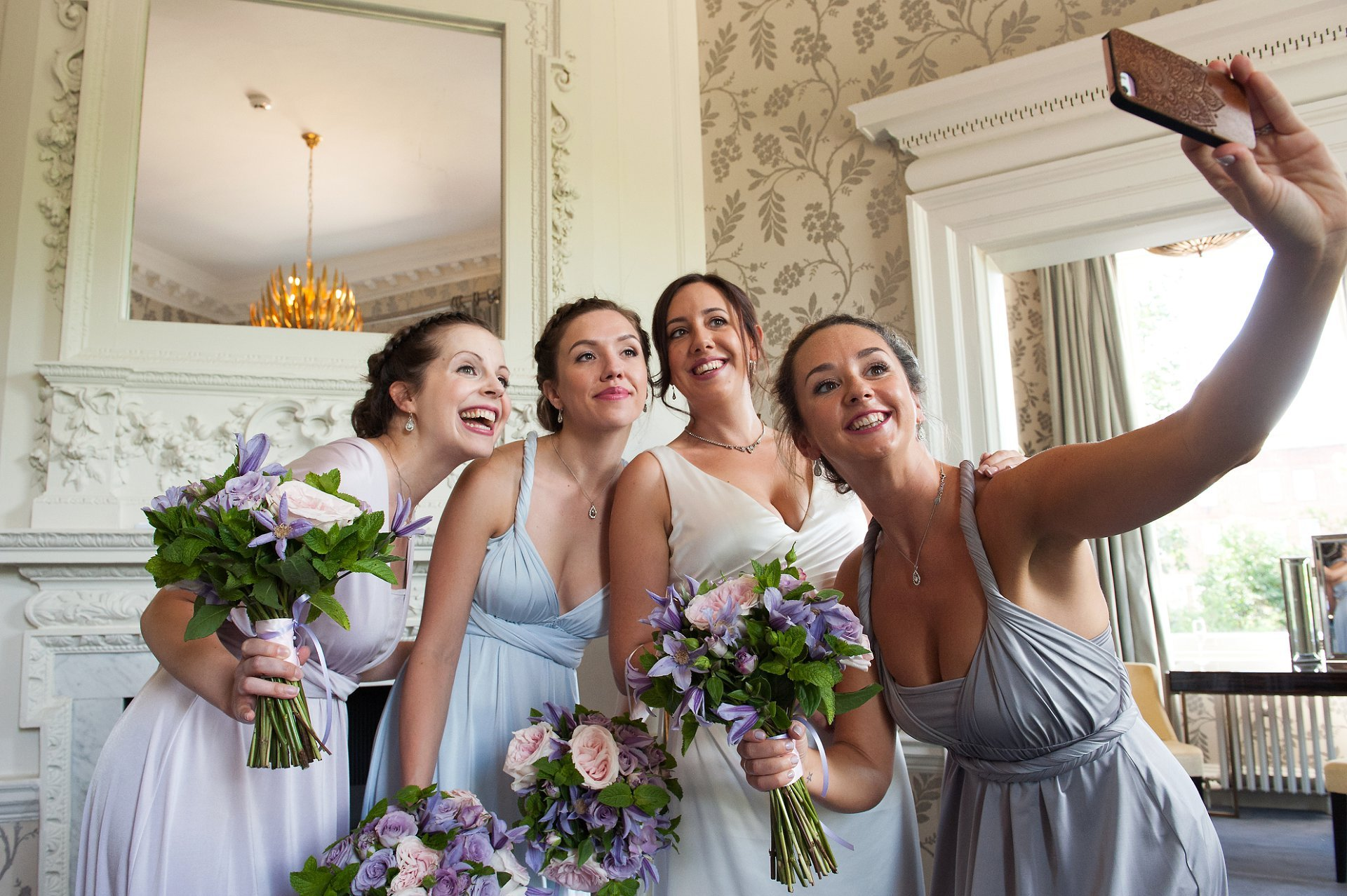 Last minute bride and bridesmaid selfie in the Cherry Room at Morden Hall