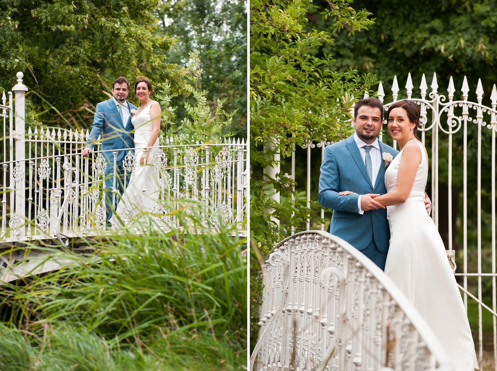 The little white bridge at Morden Hall is perfect for briade and groom photos