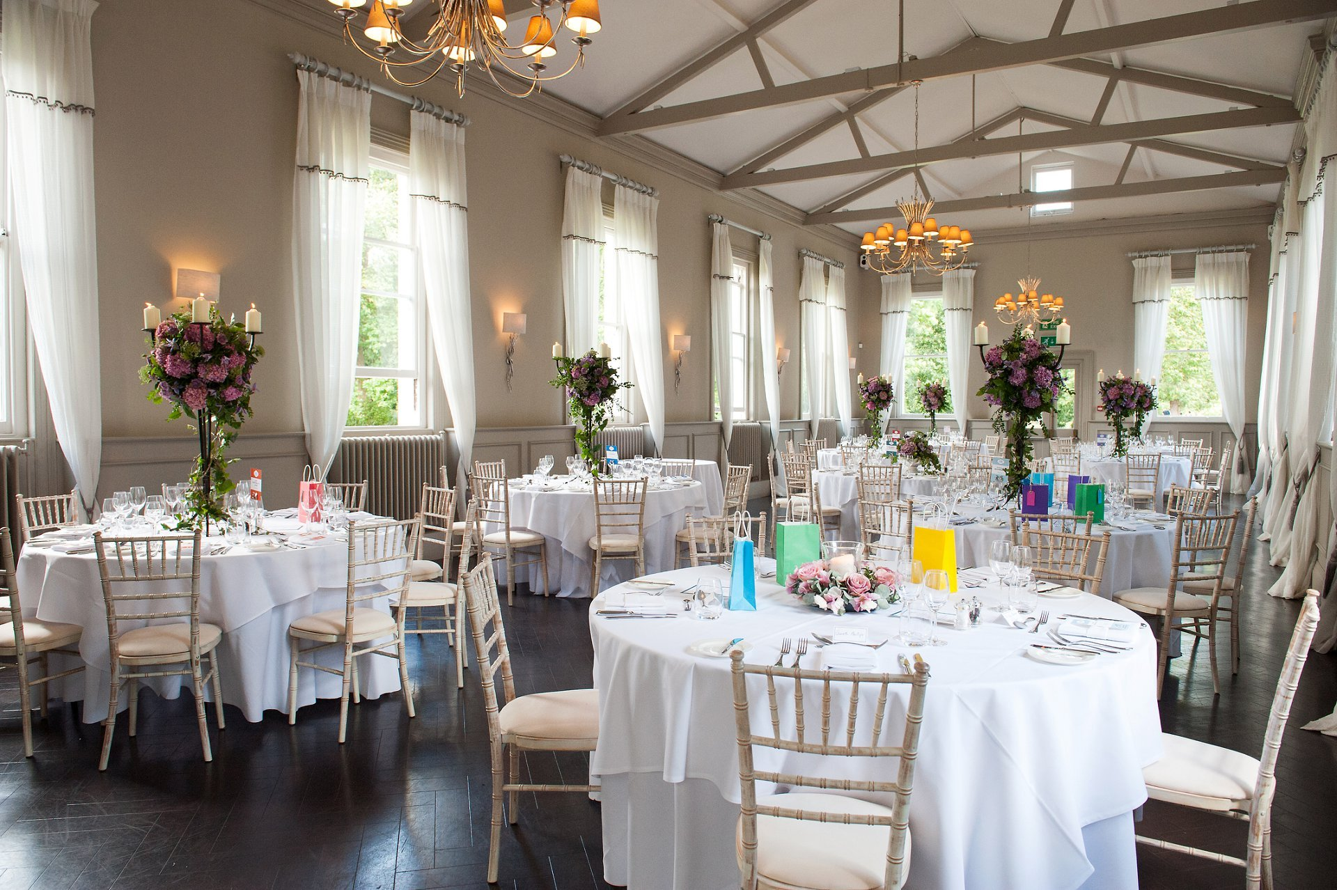 Mulberry Room at Morden Hall set up for a wedding breakfast