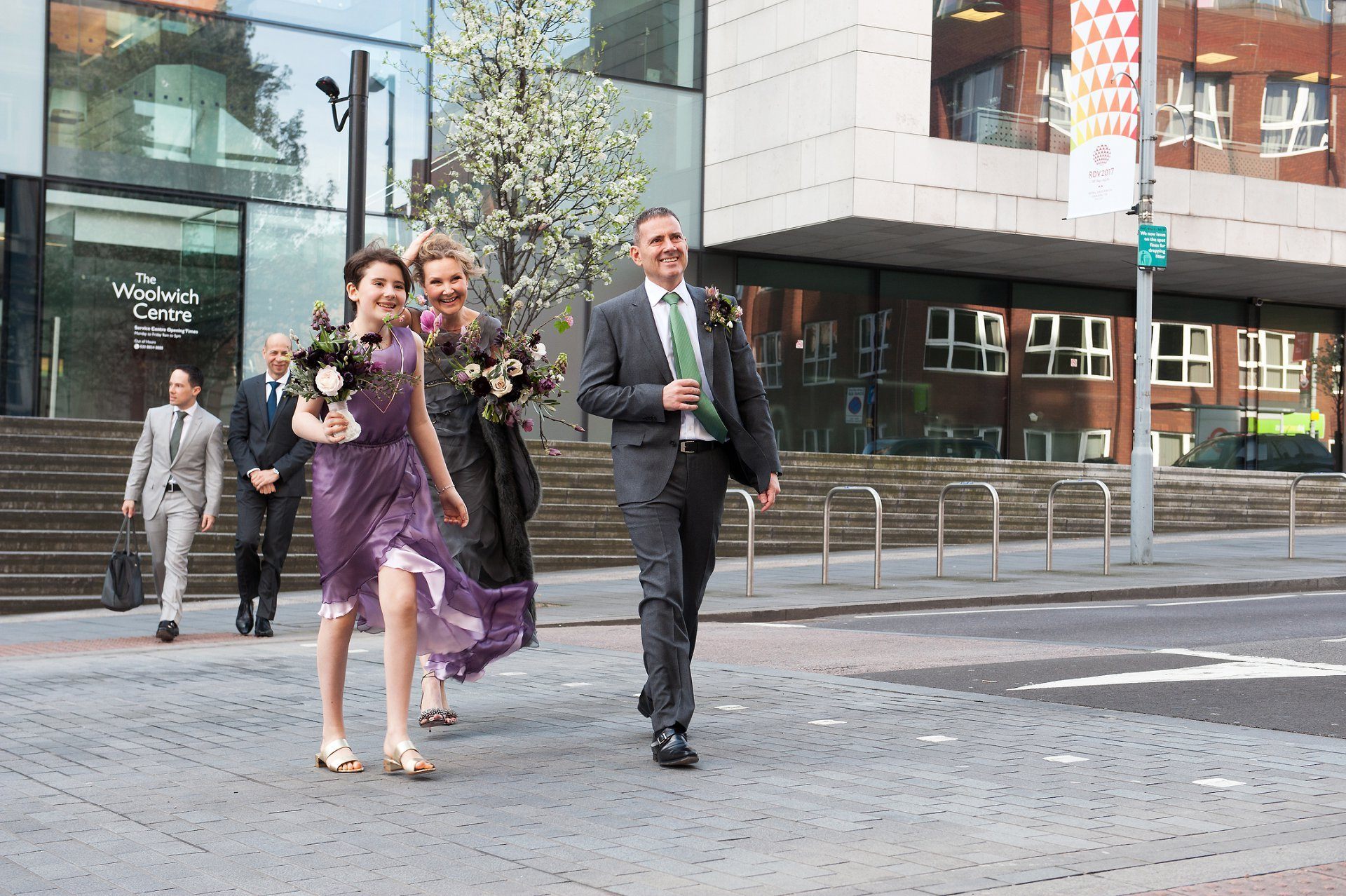 Bride, Groom and Bridesmaid arrive at Greenwich Registry Office in Woolwich