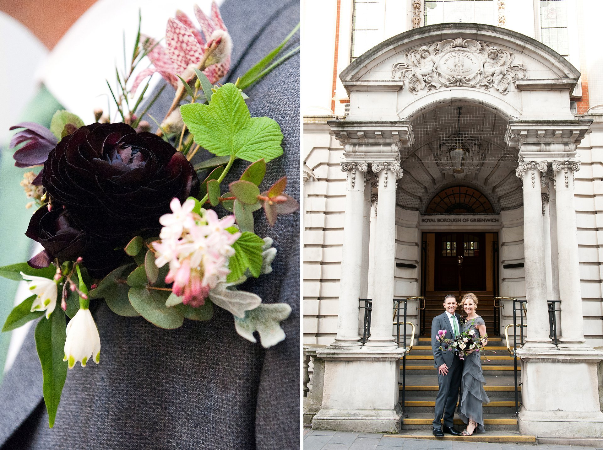 Bride & Groom outside the Wellington Street entrance of Woolwich Town Hall