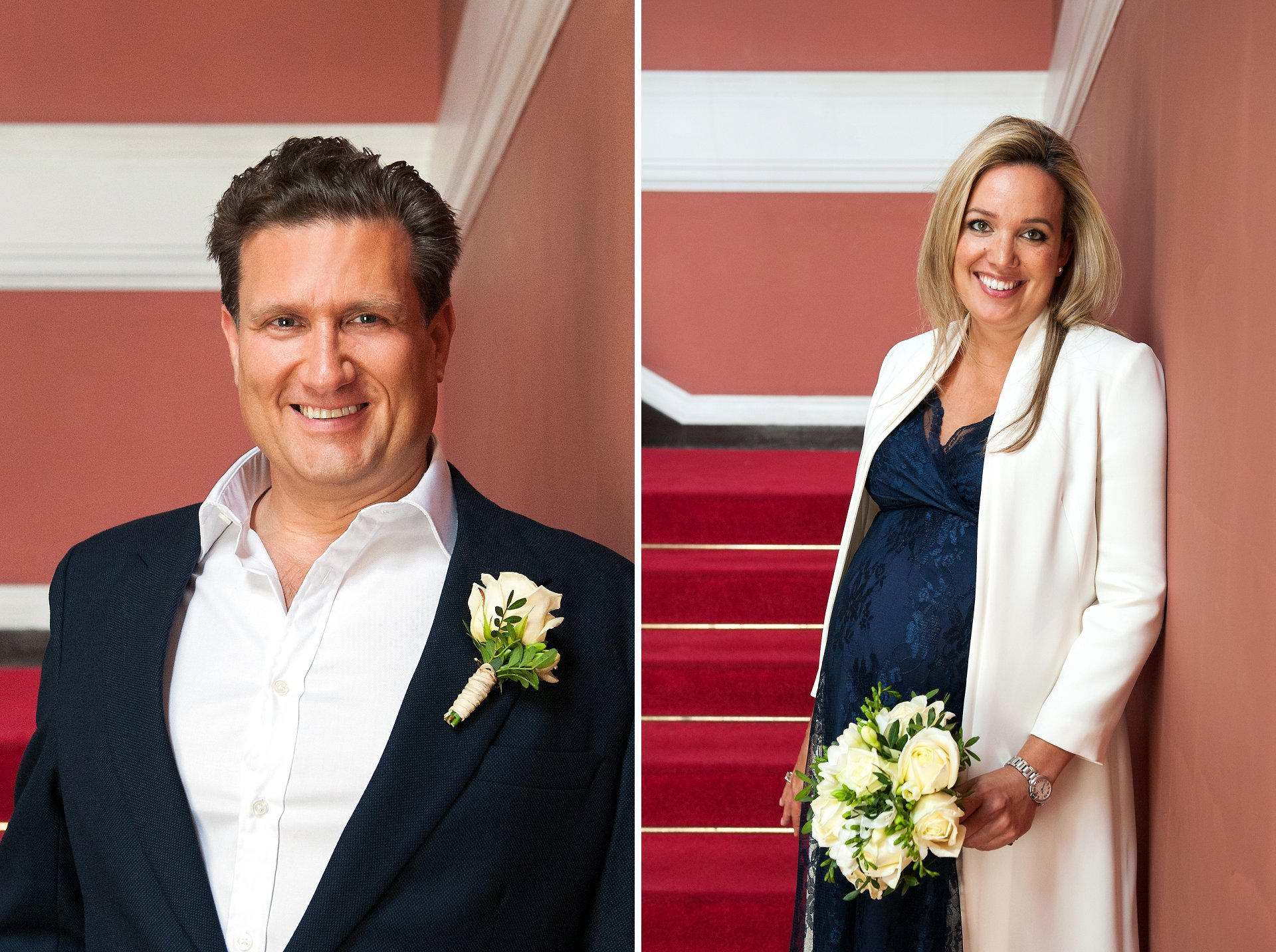Julian and Emily in navy and white with cream flowers at Chelsea Old Town Hall