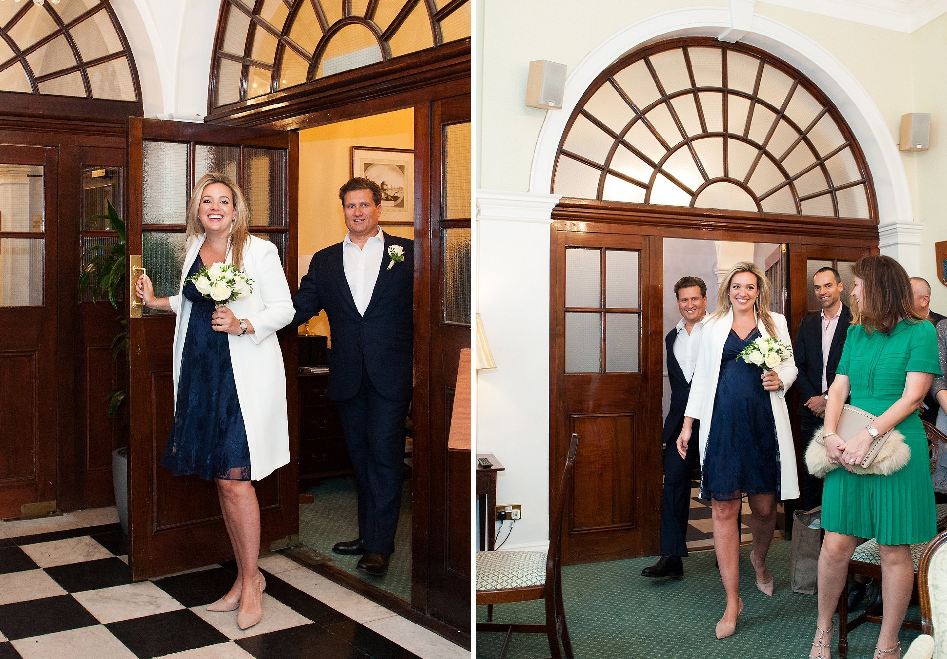 Emily and Julian enter the Rossetti Room inside Chelsea Old Town Hall for their civil marriage ceremony