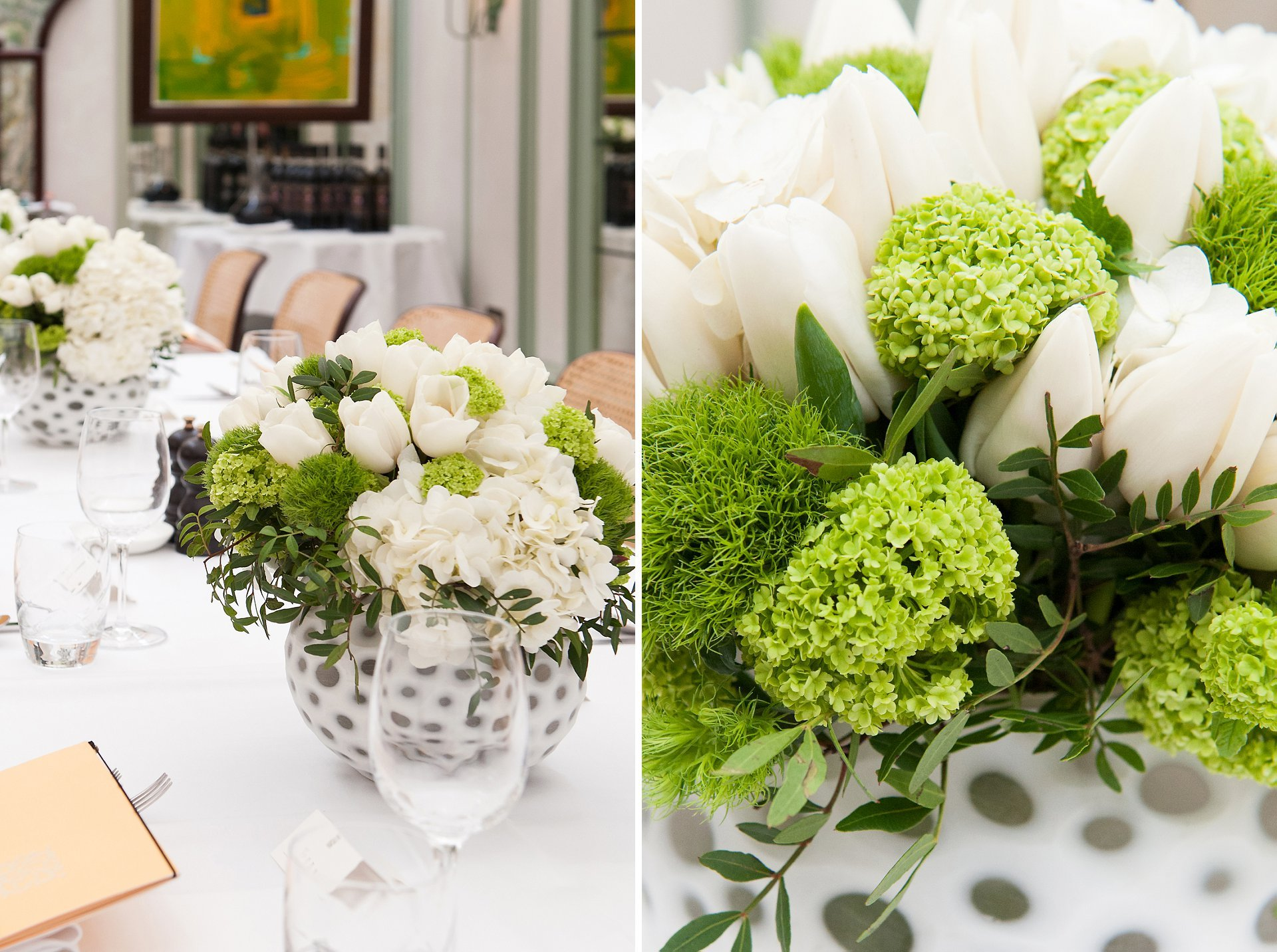 Green and cream flowers in spotty vases for this Daphne's Conservatory wedding