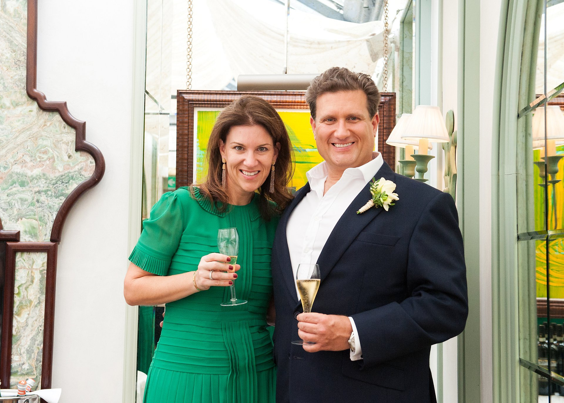 Groom adn his sister celebrate his marriage at Daphne's South Kensington