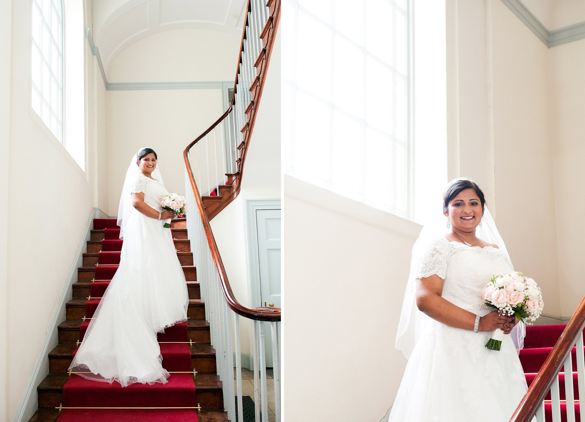 Feriel on the red staircase in Fulham Palace just before her marriage to Adam