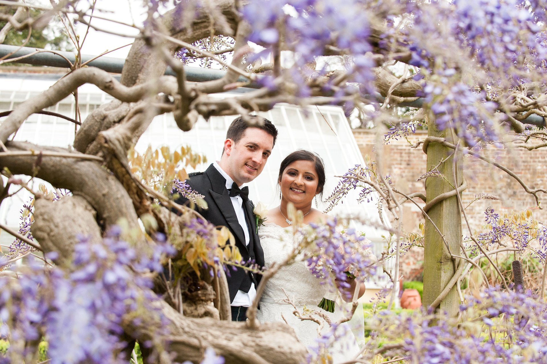 Bride & Groom framed by wisteria at Fulham Palace