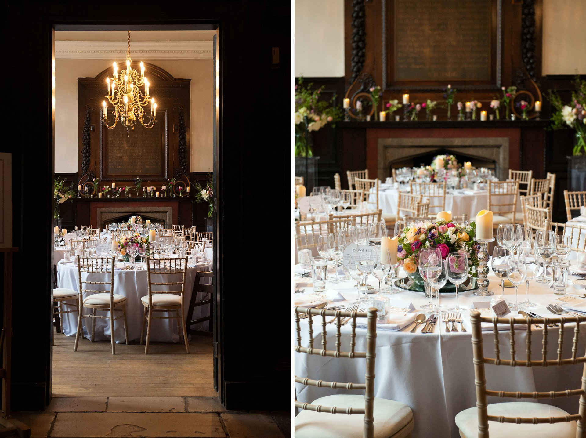 The stunning Great Hall at Fulham Palace laid for a wedding breakfast