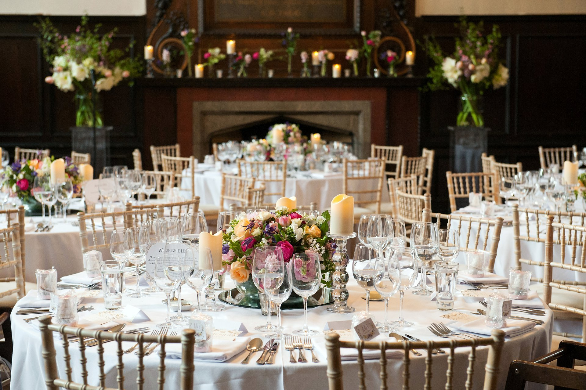 Fulham Palace Great Hall Wedding - tables laid for Adam and Feriel's wedding breakfast
