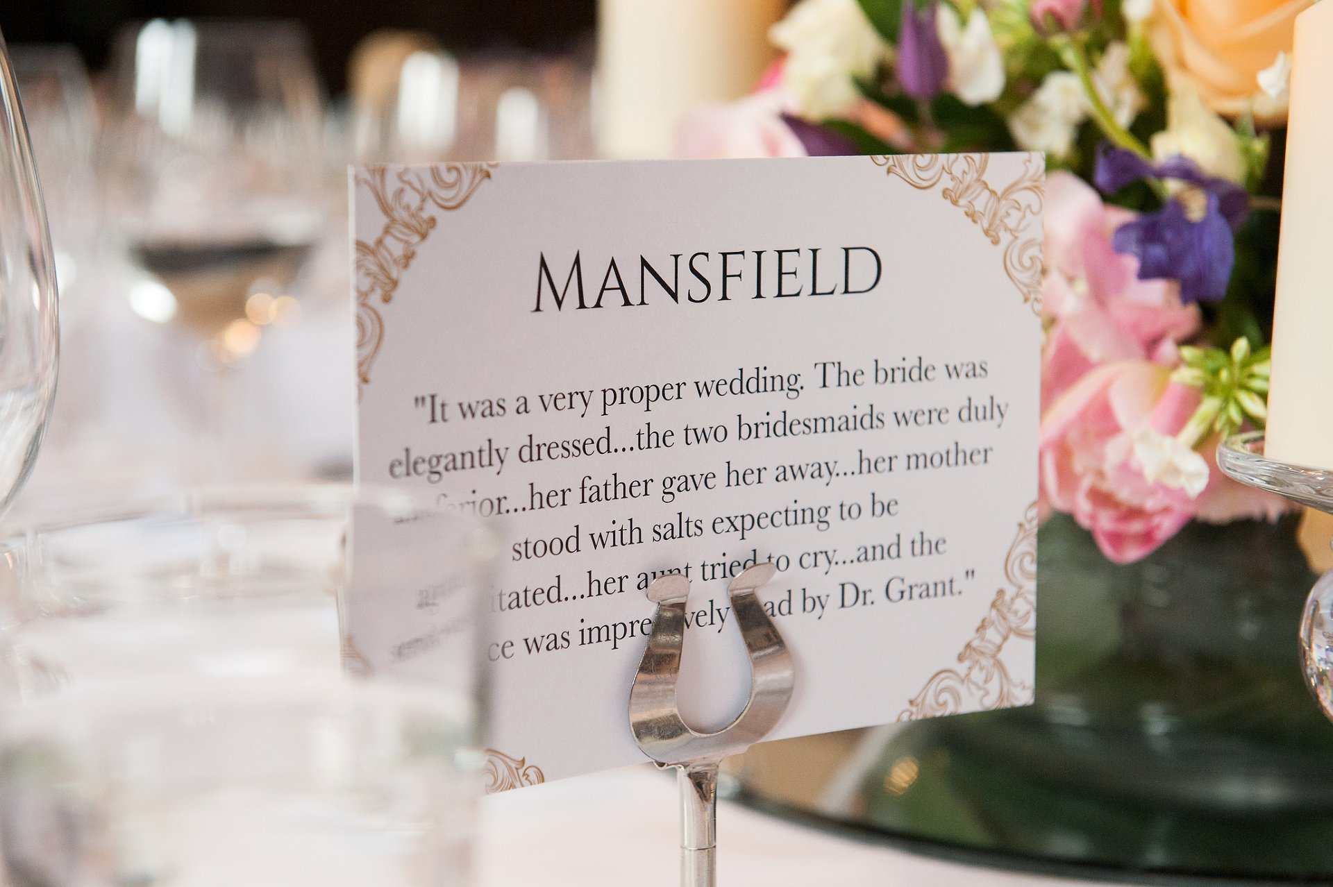 Author theme table names for bookworms Adam & Feriel's Fulham Palace wedding breakfast