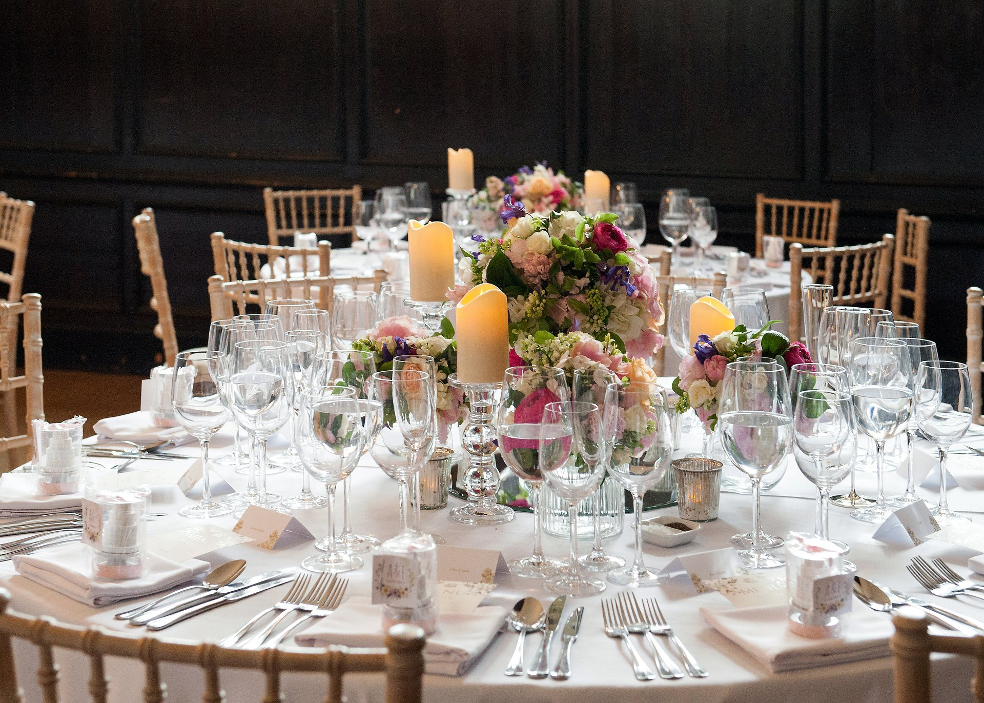 Stunning traditional English table decorations in the Great Hall at Fulham Palace