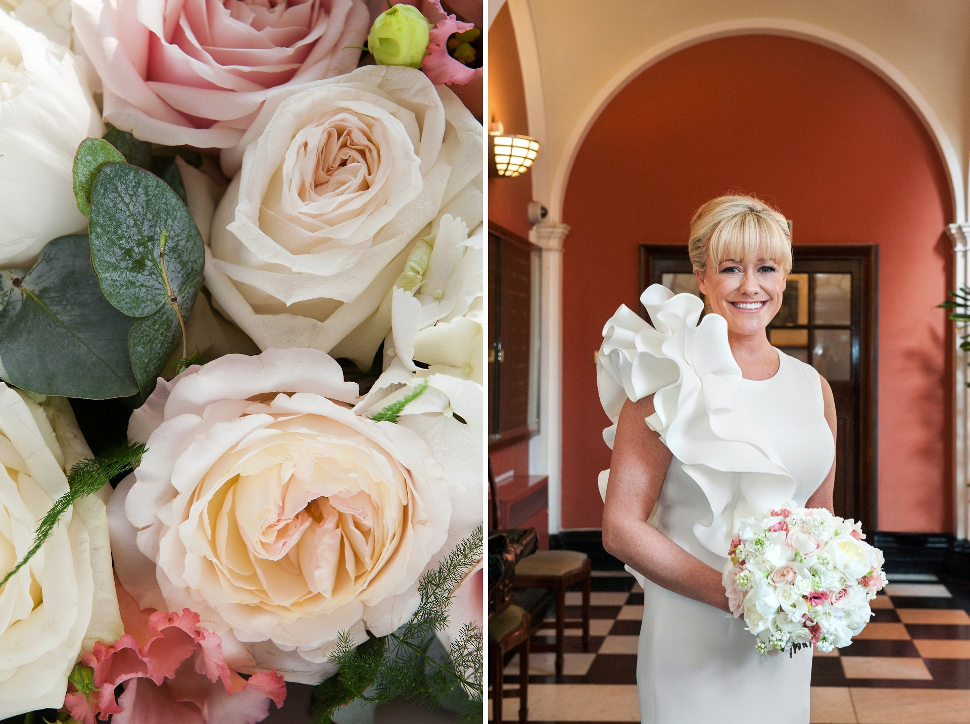 Bride Erin in the Waiting Room of Chelsea Old Town Hall holding her spring rose bouquet by London florist Amie Bone.