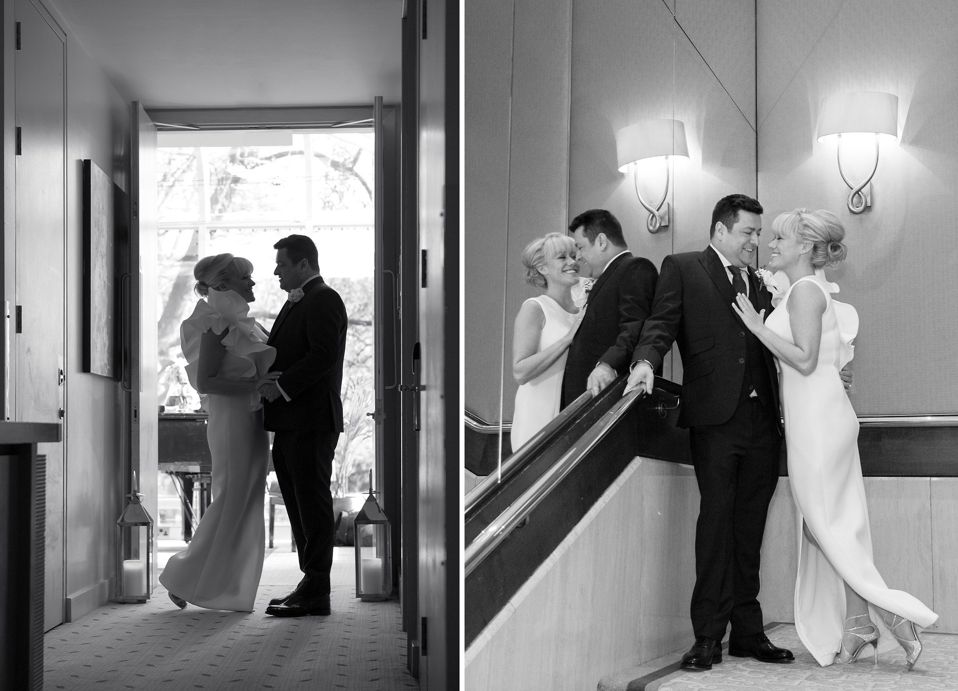 Bride & groom in the doorway of the Garden Room at the Jumeirah Carlton Tower in Knightsbridge for wedding reception