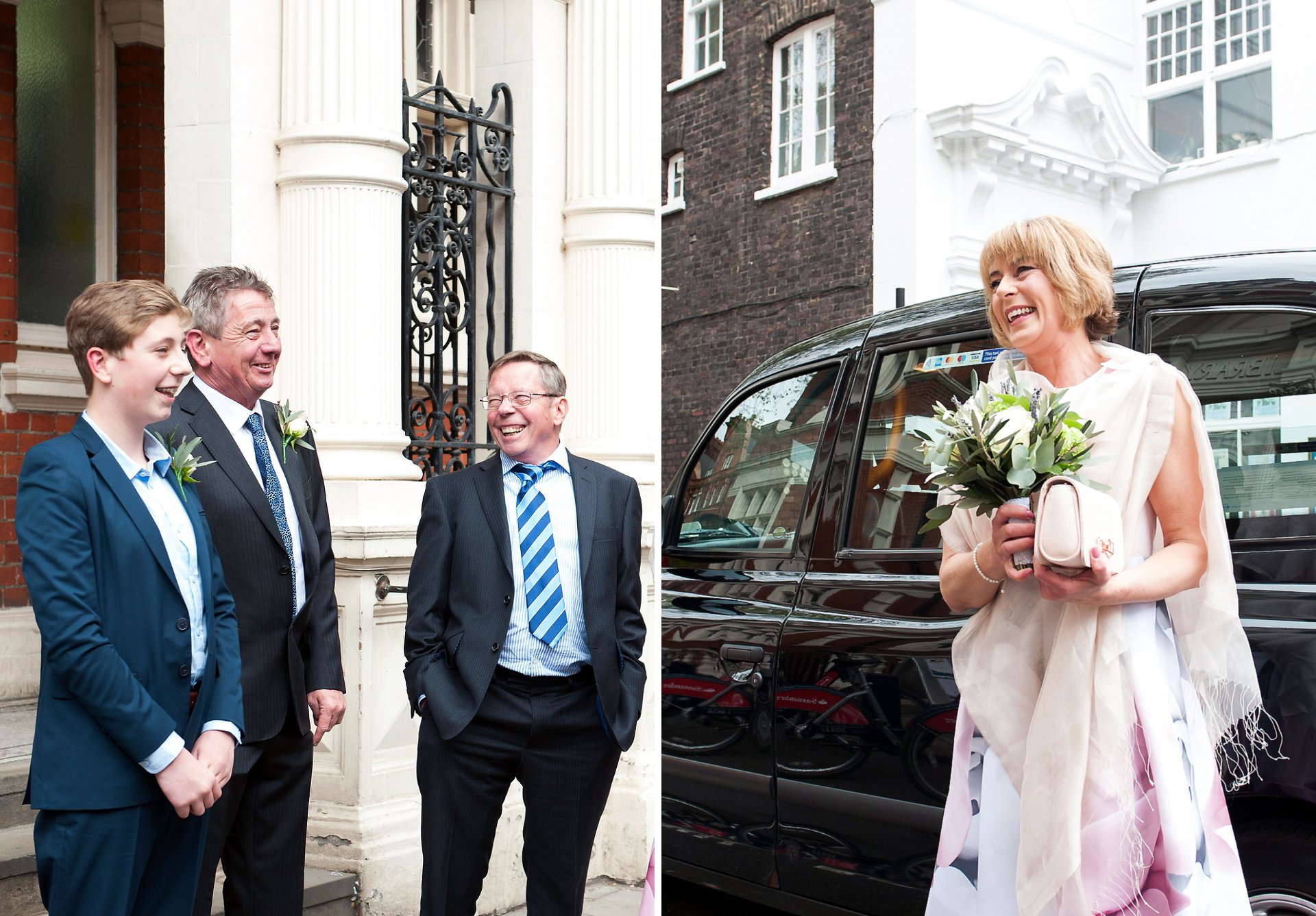 Melanie arrives in London black cab for her wedding to Sid at Mayfair Library on South Audley Street