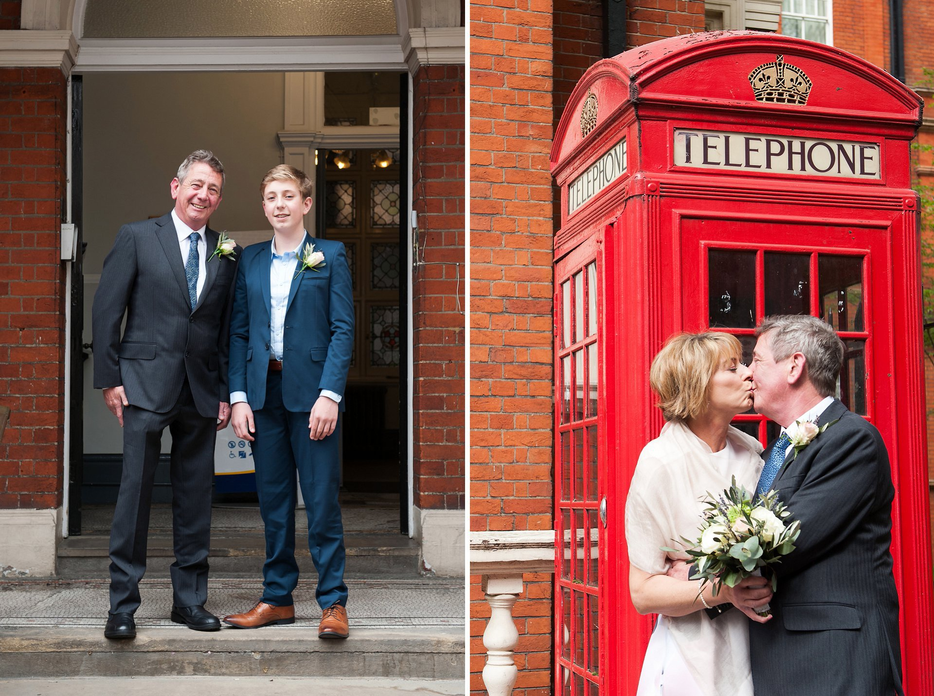 Groo, Sid, and his son on the steps of Mayfair Library and teh Bride & Groom pose for a photo in front of an iconic red telephone box on South Audley Street