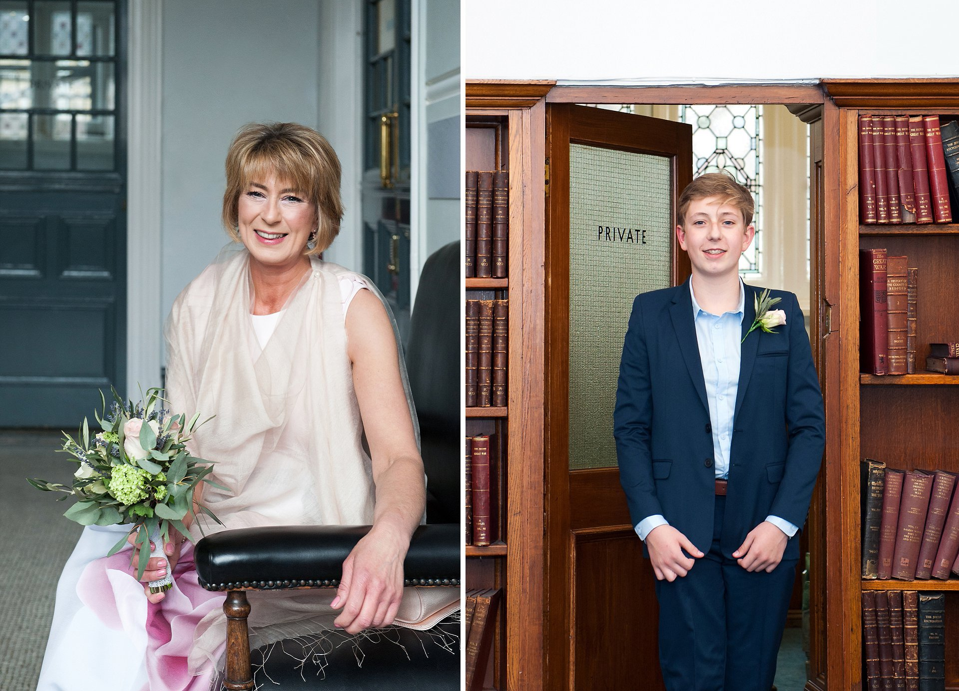 Bride outside the Mayfair Room at Mayfair Library and her son entering the Marylebone Room