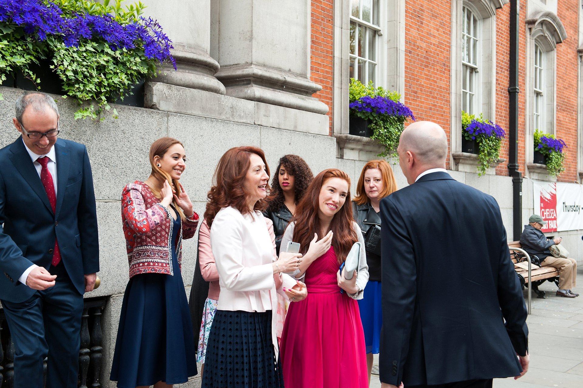 George's family from Spain greet him outside Chelsea Register Office