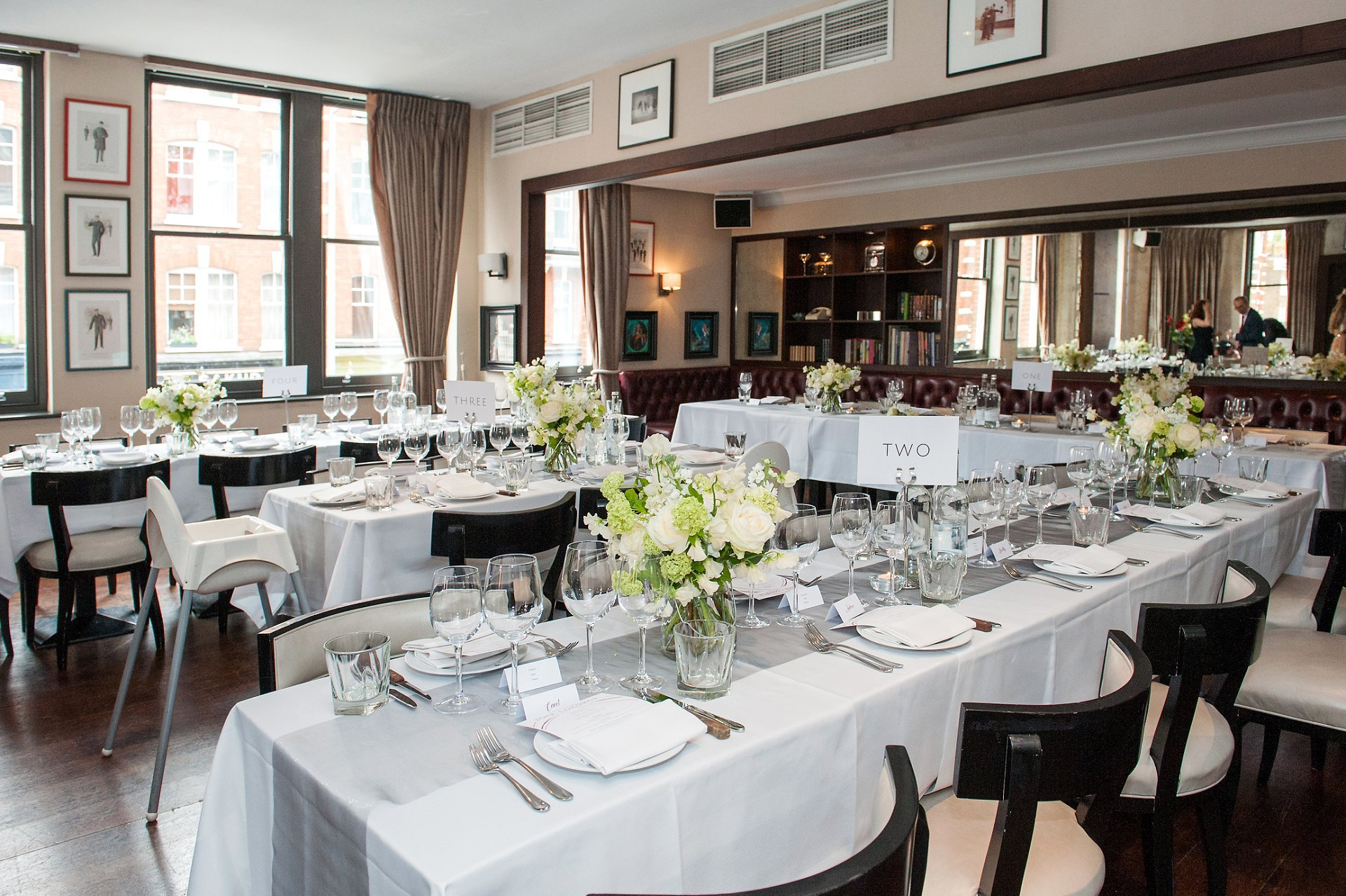 Beaufort House private Room decorated for a wedding breakfast for 30 people