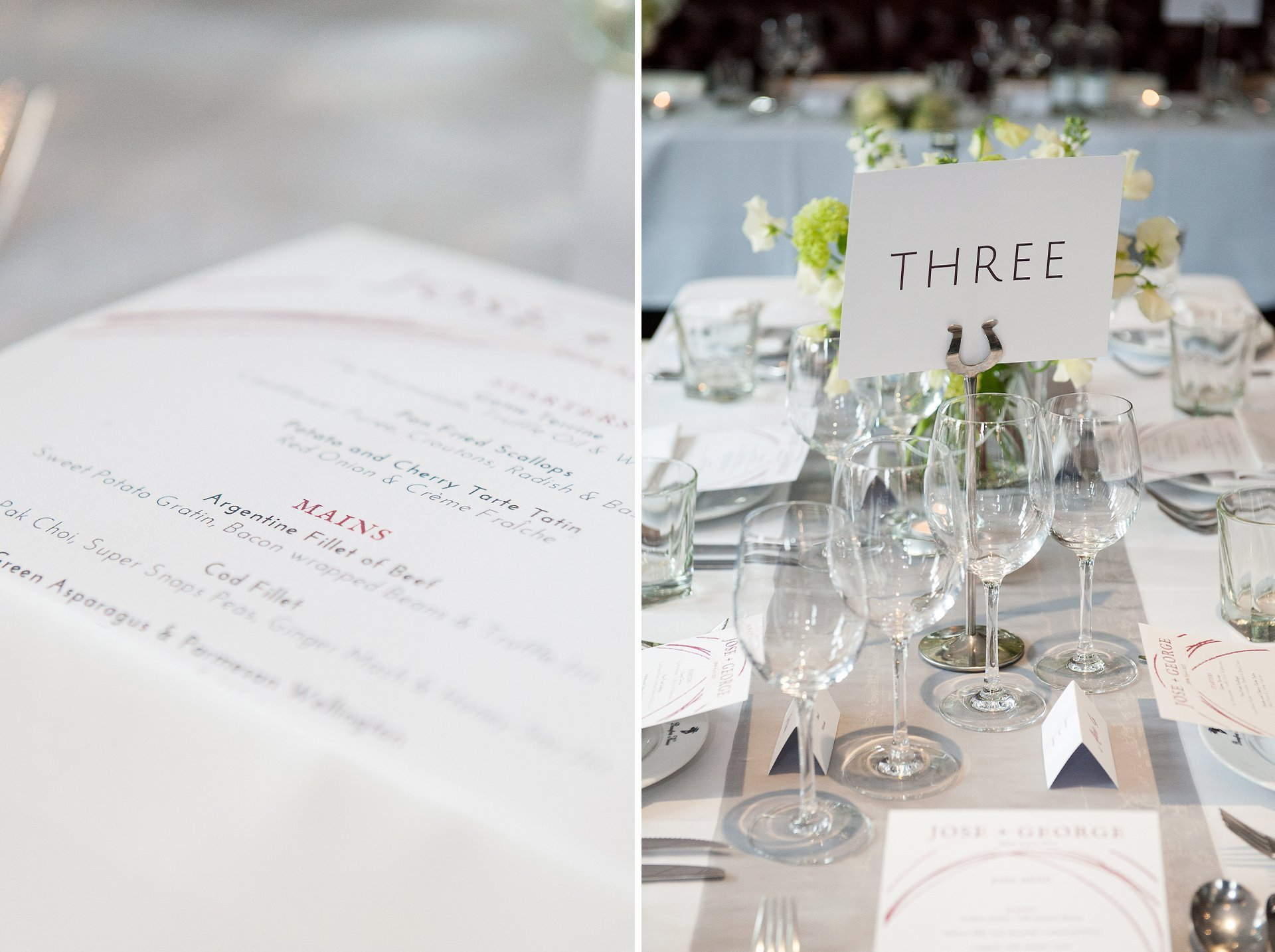 Table layout and menu for a Beaufort House wedding reception in a private room