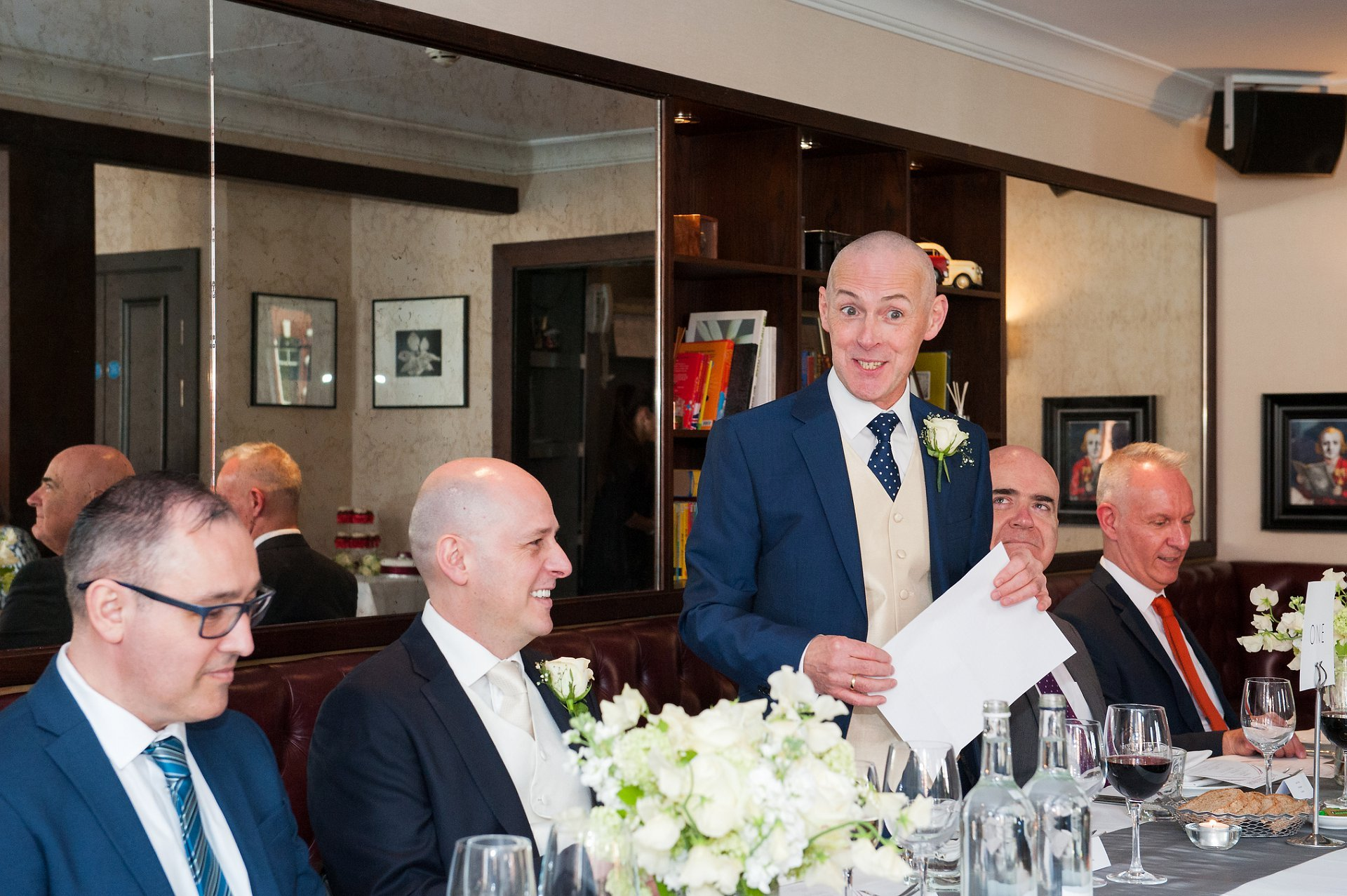 George makes a speech prior to the meal starting at Beaufort House