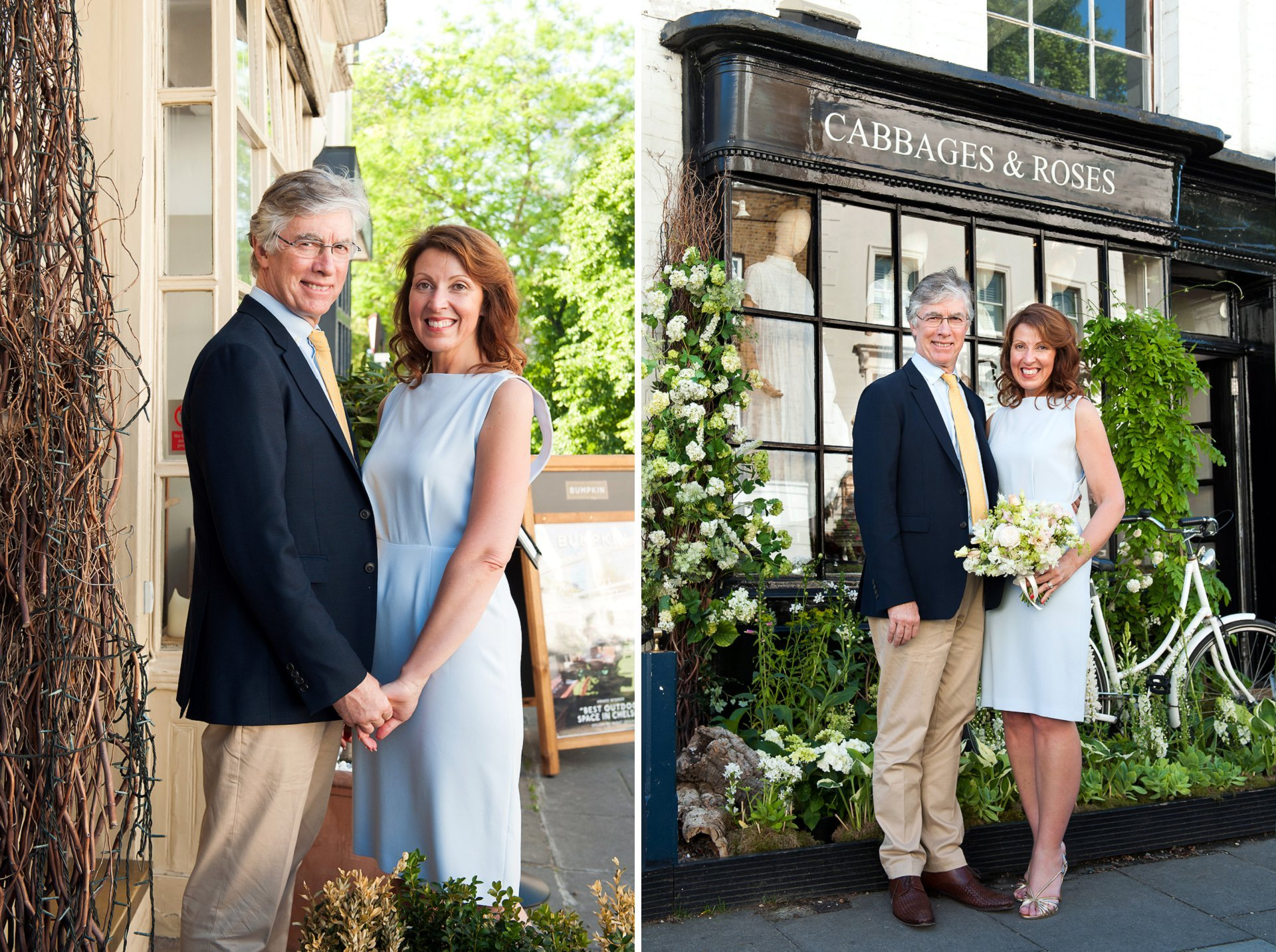 Chelsea Old Town Hall Wedding Photography - a bride and groom pose outside shop Cabbages & Roses on Sydney Street in London's Chelsea. Chelsea Flower show encourages all of the local shops, pubs and restaurants to decorate their shopfronts with flowers and Cabbages and Roses chose a vintage, quintisentially English display
