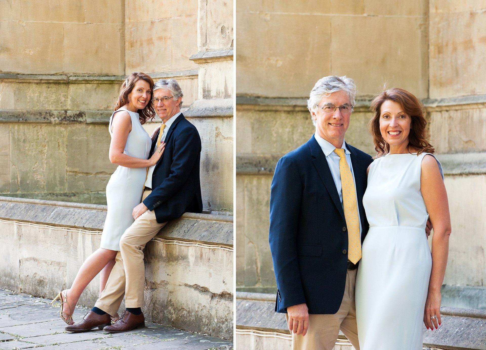 Bride and groom near St Luke's church Chelsea