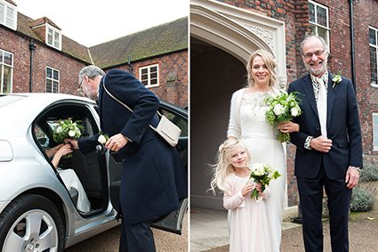 Bride and her father arrive in a smart wedding car to the historic Tudor courtyard at Grade I listed Fulham Palace for a civil marriage ceremony