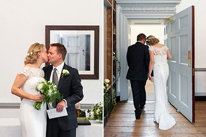 Bride and groom kiss at the end of their Fulham Palace wedding before walking out of the Bishop Terrick's Drawing Room