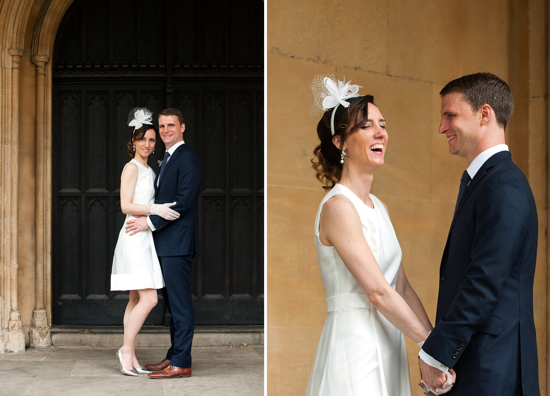 Bride and groom after their Chelsea Register Office wedding - the bride in a white A line skater dress in satin and organza with an alice band fascinator, white gloves and silver court shoes, and the groom with a navy suit and brown brogues