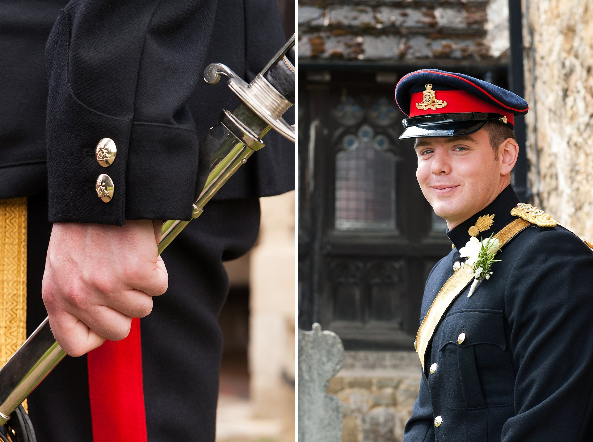 Groom, Sam, in his dress uniform at St Mary the Virgin church in Westerham, Kent