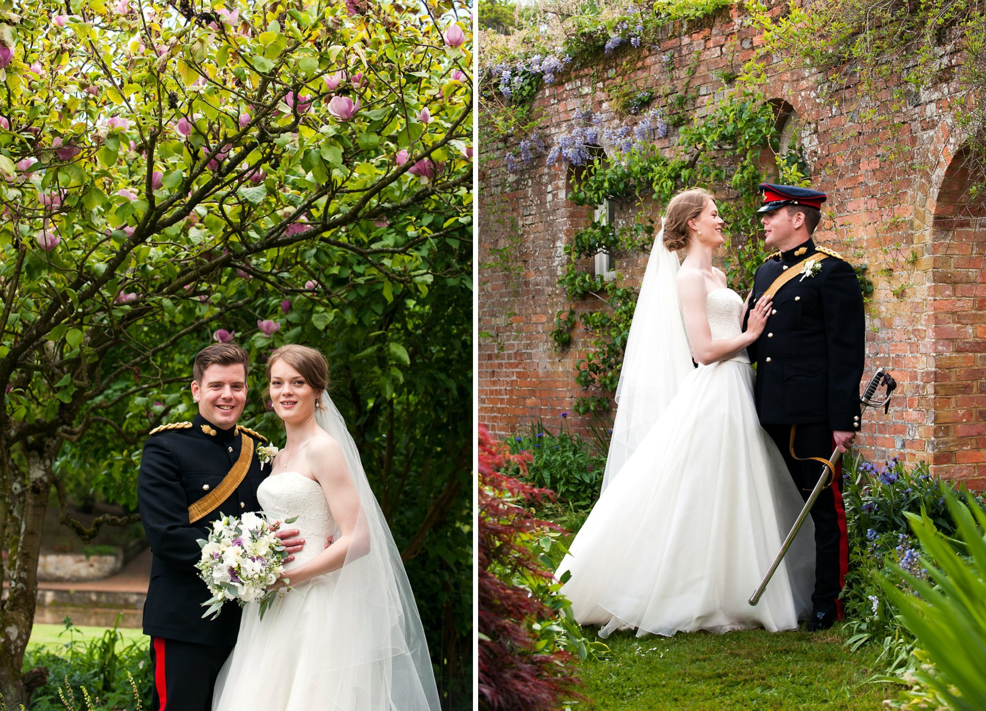 Sam and Jess celebrate their wedding at Starborough Manor in front of the beautiful spring foliage