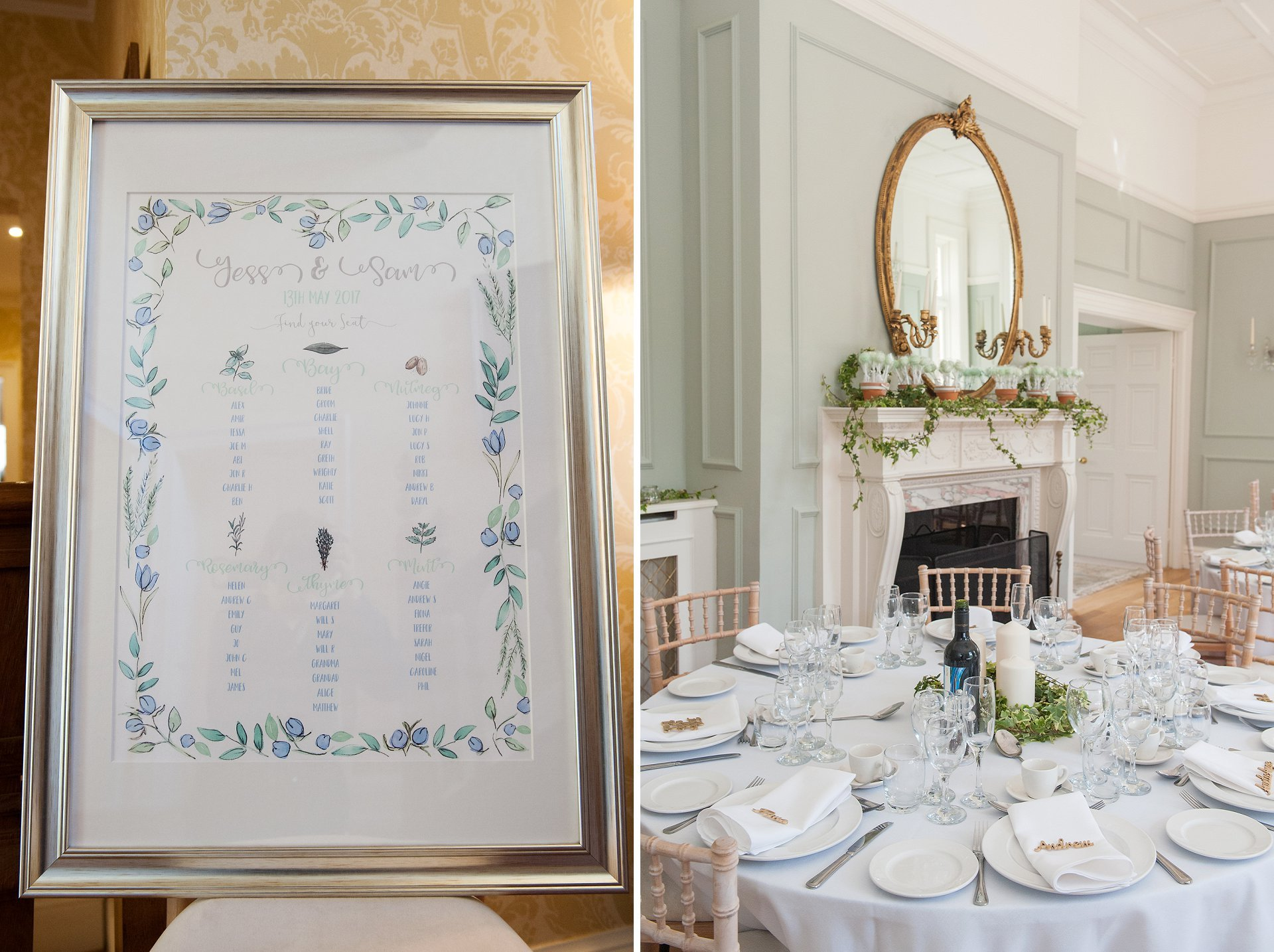 Pale blue and pale green table seating plan for the pale green dining room at Kent wedding venue, Starborough Manor