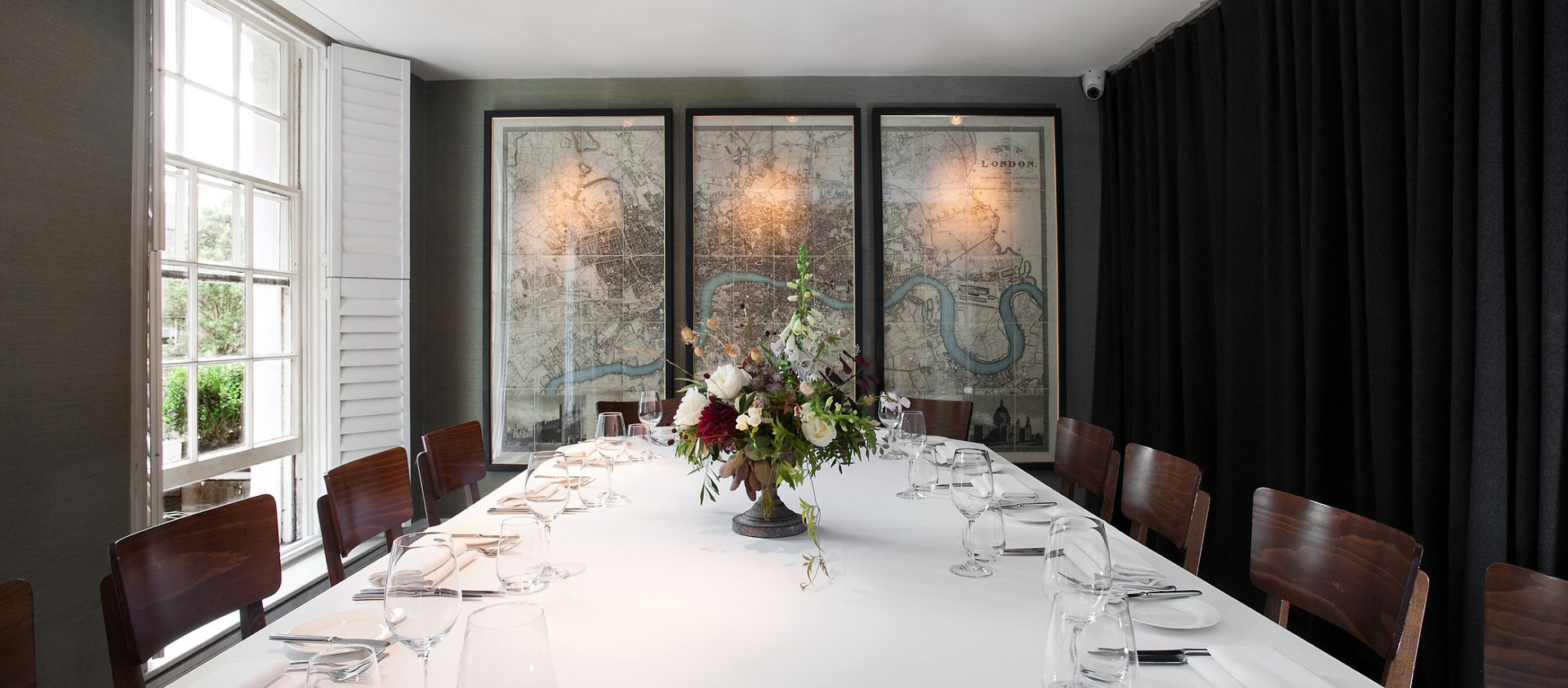Chelsea restaurant Medlar - an ideal private dining room for small wedding receptions (Chelsea Register Office in Chelsea Old Town Hall is just three bus stops away) with French european food from award winning chef Joe Mercer Nairne and front of house management by co-owner David O'Connor